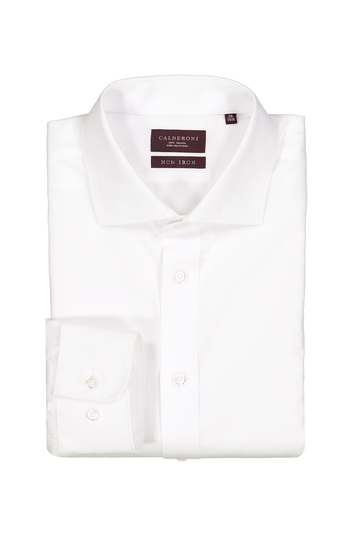 Camisa Calderoni -Non Iron 24/7- jacquard blanco liso.