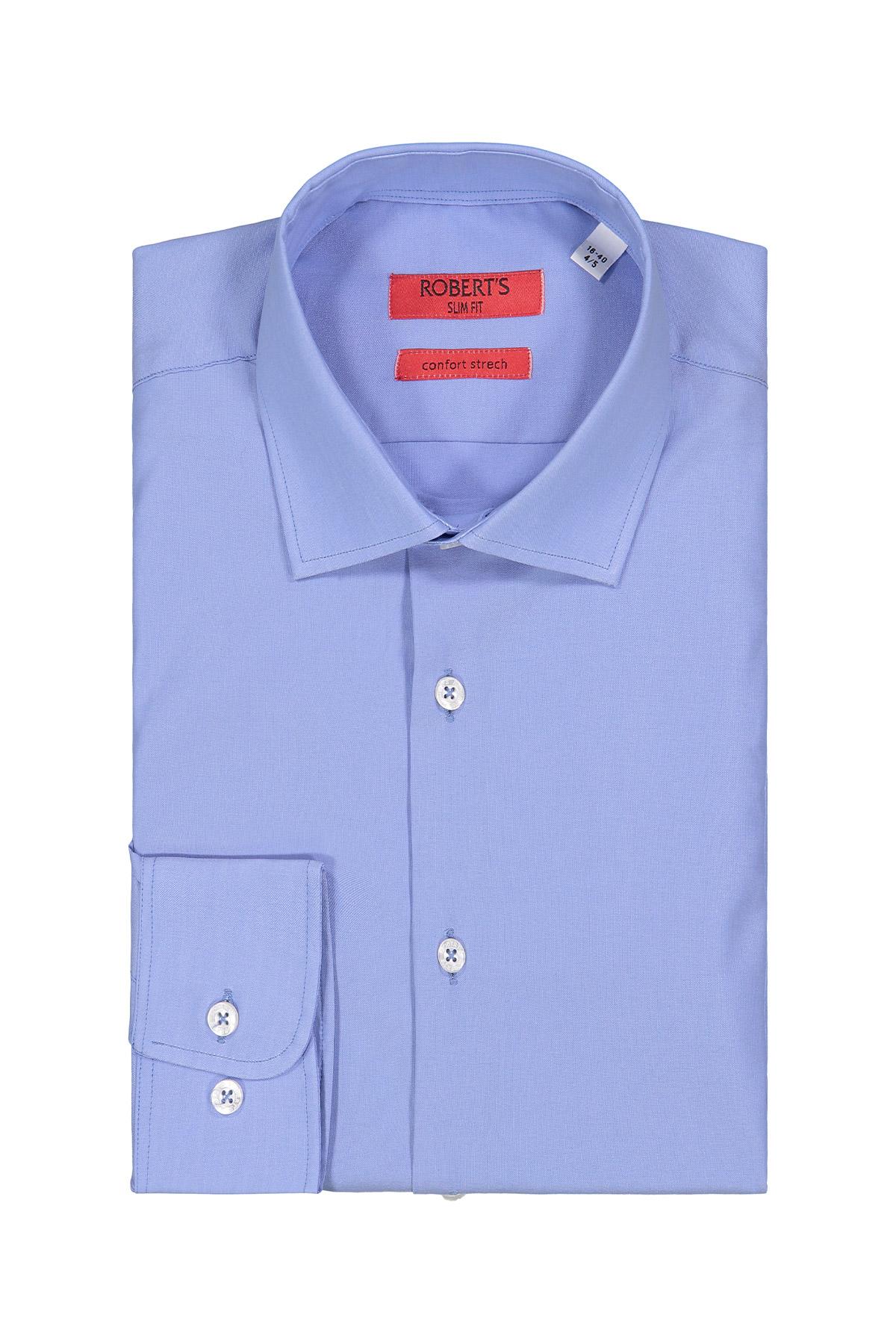 Camisa Robert´s, poplin celeste liso, cuello italiano, puño simple.