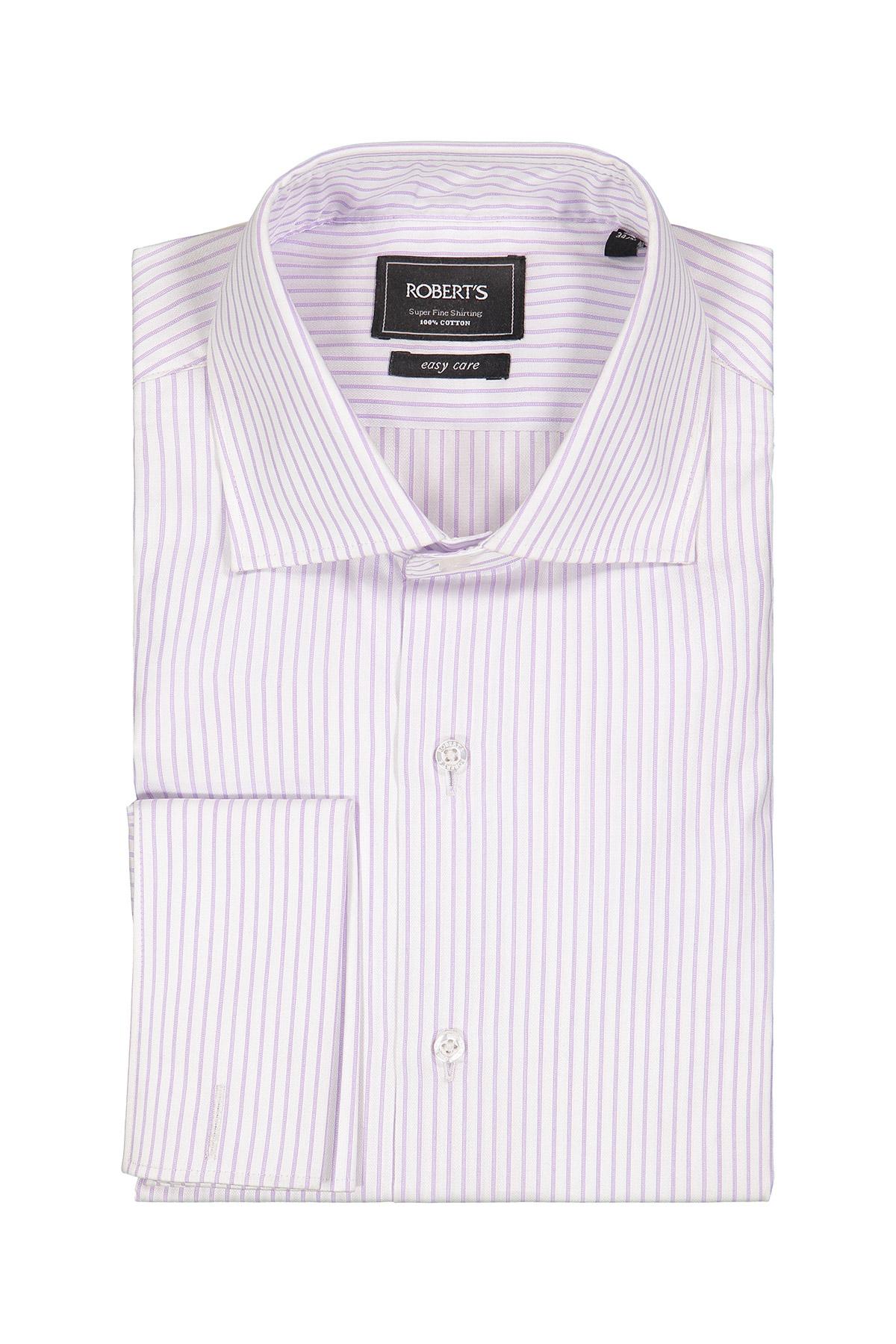 Camisa Robert´s, Easy Care, blanca con rayas lila, cuello italiano.