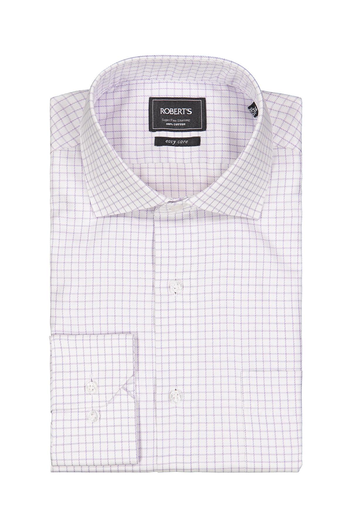 Camisa Robert´s, Easy Care, blanca tramada con cuadros en color lila.