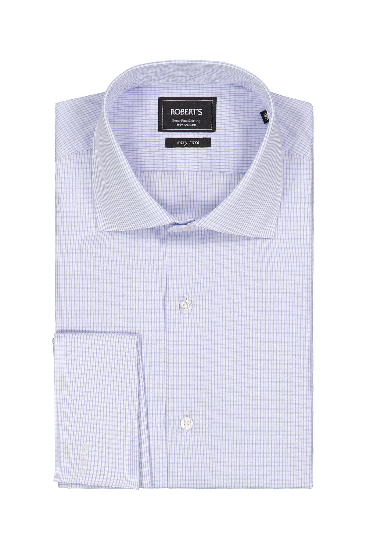 Camisa Robert´s, Easy Care, blanca con cuadros celeste, puño doble.