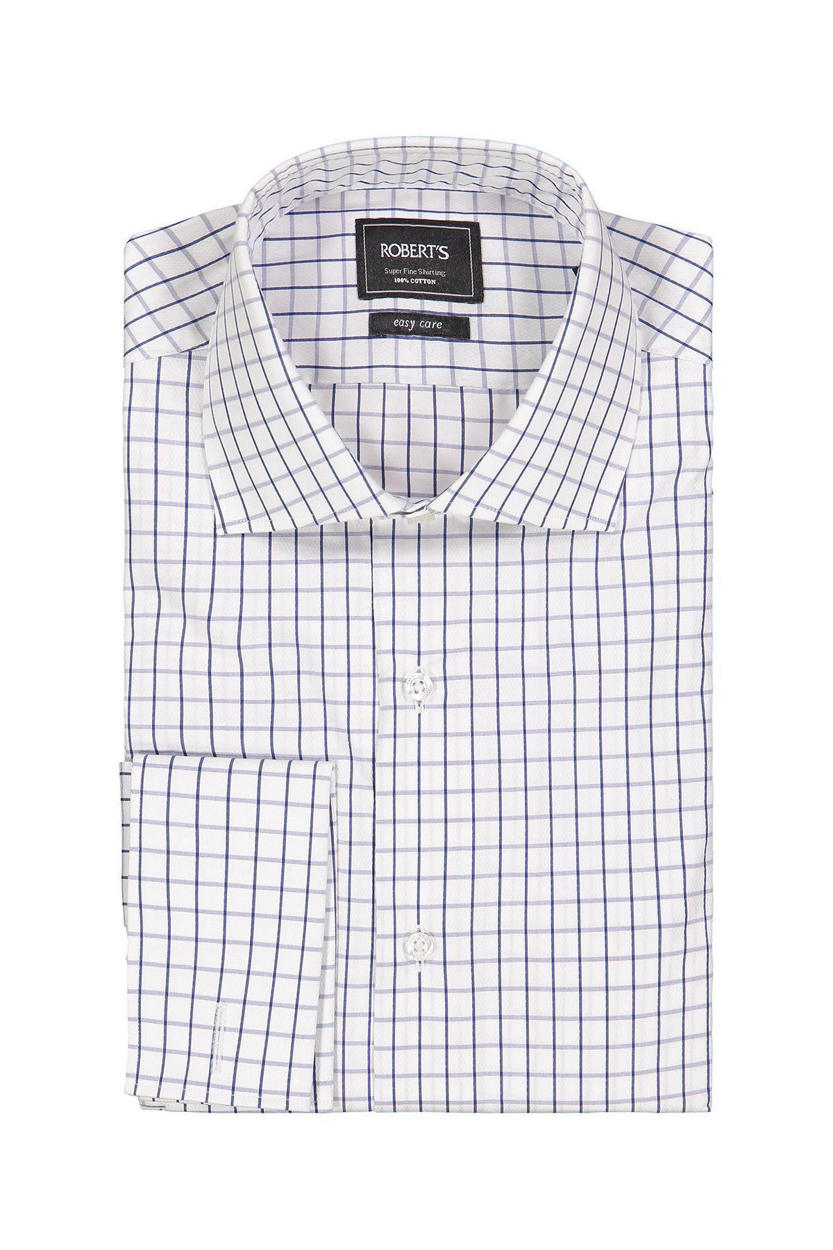 Camisa Robert´s, Easy Care, blanca con cuadros azul, puño doble.