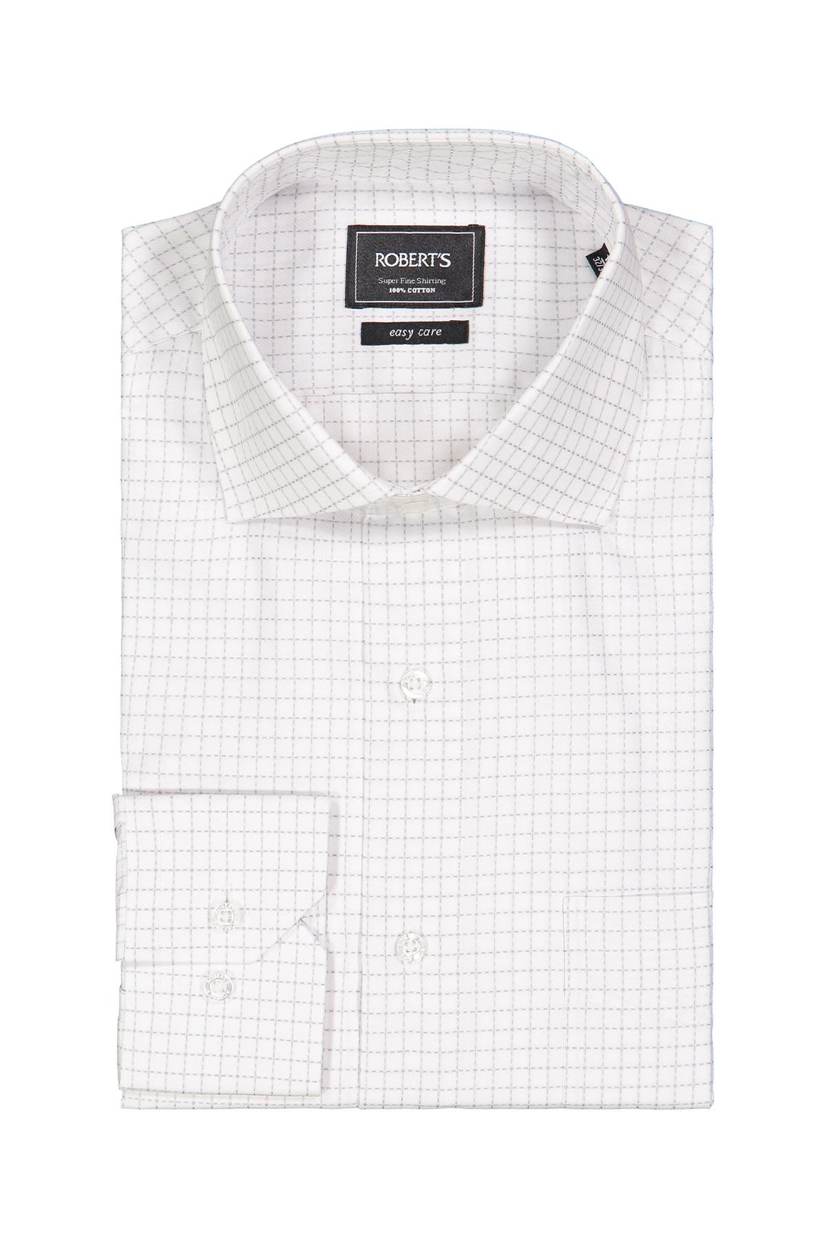 Camisa Robert´s, Easy Care, blanca con cuadros gris, puño simple.