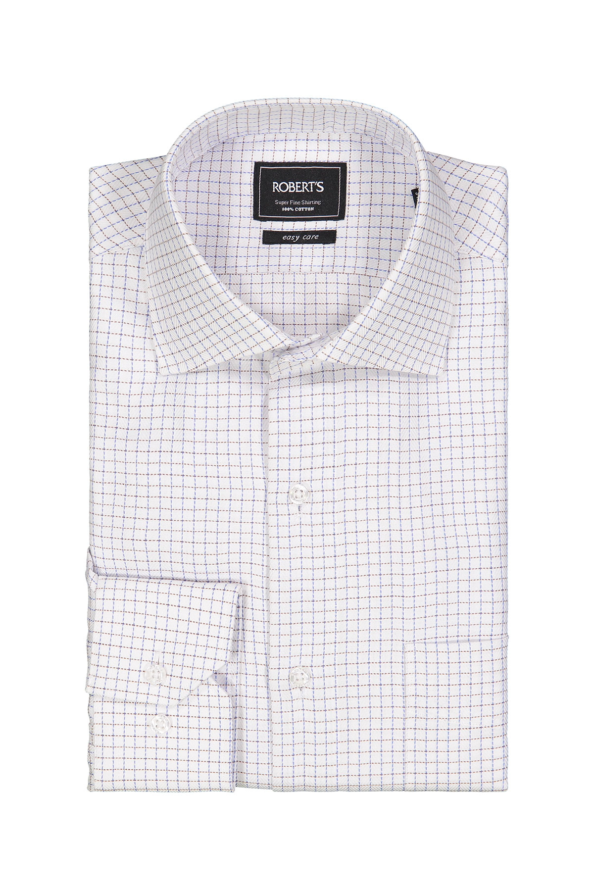 Camisa Robert´s, Easy Care, blanca con cuadros azul y café.