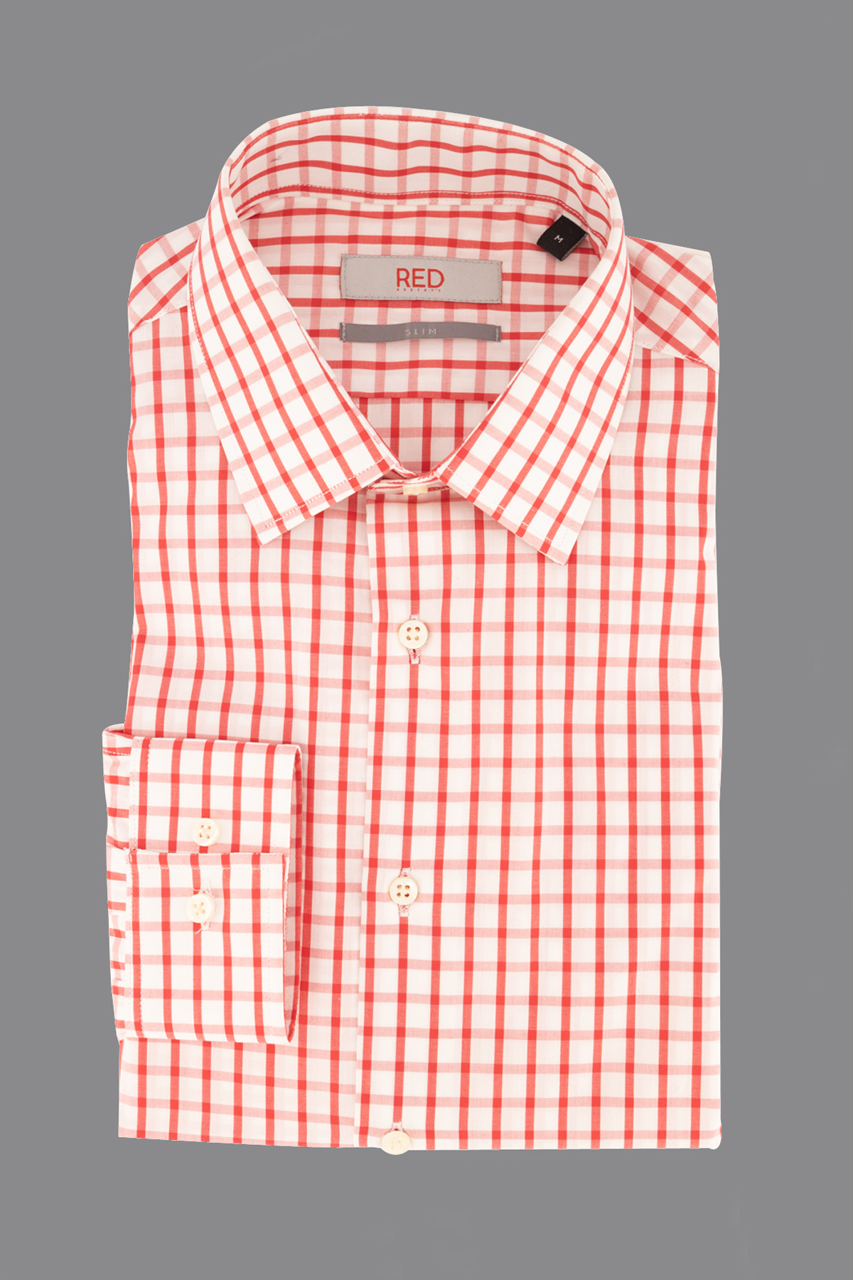 Camisa Robert´s  Red, slim fit, blanca cuadros color rojo.