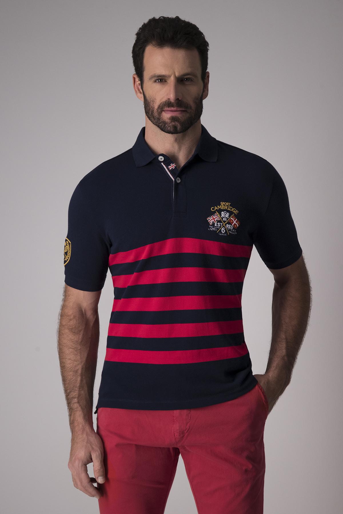 Polo Robert´s 100% algodón, azul rayas rojas, con bordados