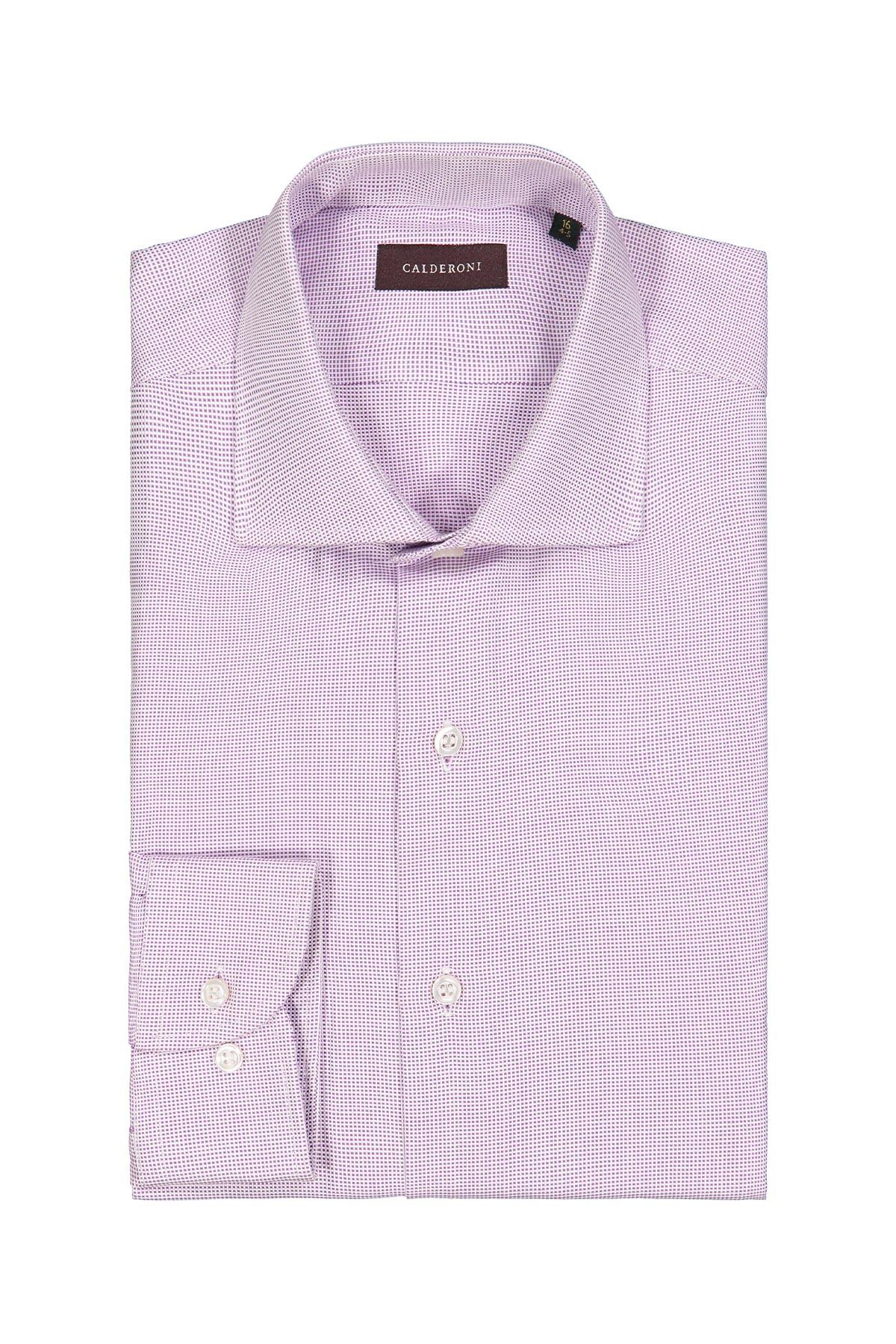Camisa Calderoni, 100% algodón, microdiseño lila, cuello italiano.