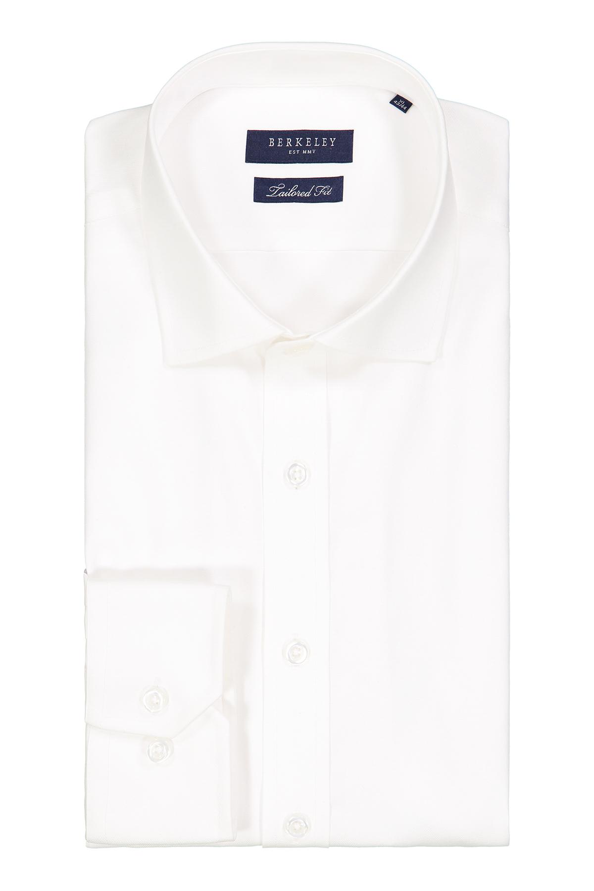 Camisa marca Berkeley, blanca lisa, cuello italiano, puño simple.