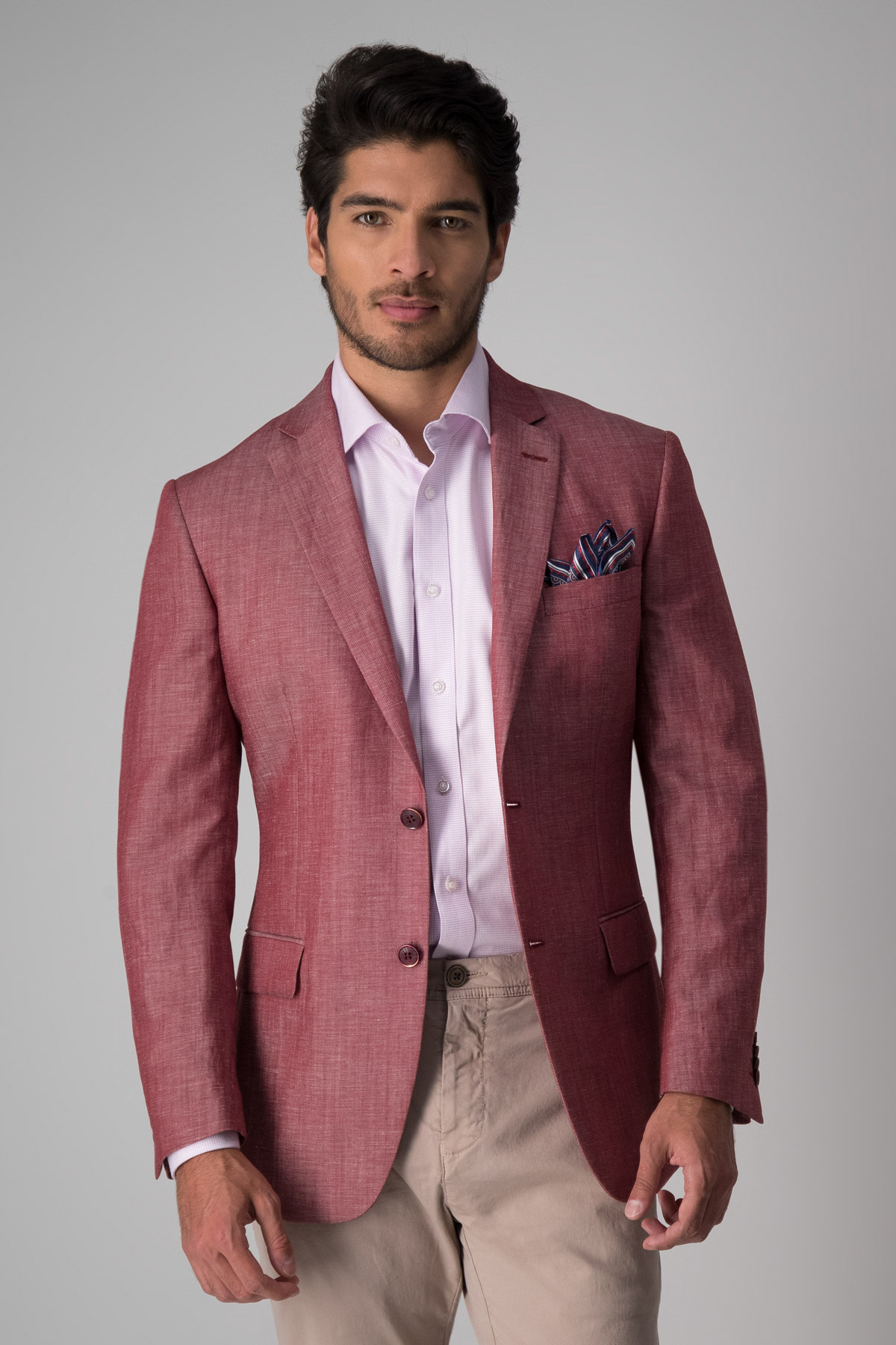 Saco Robert´s slim fit, color vino melange, lino mezcla.