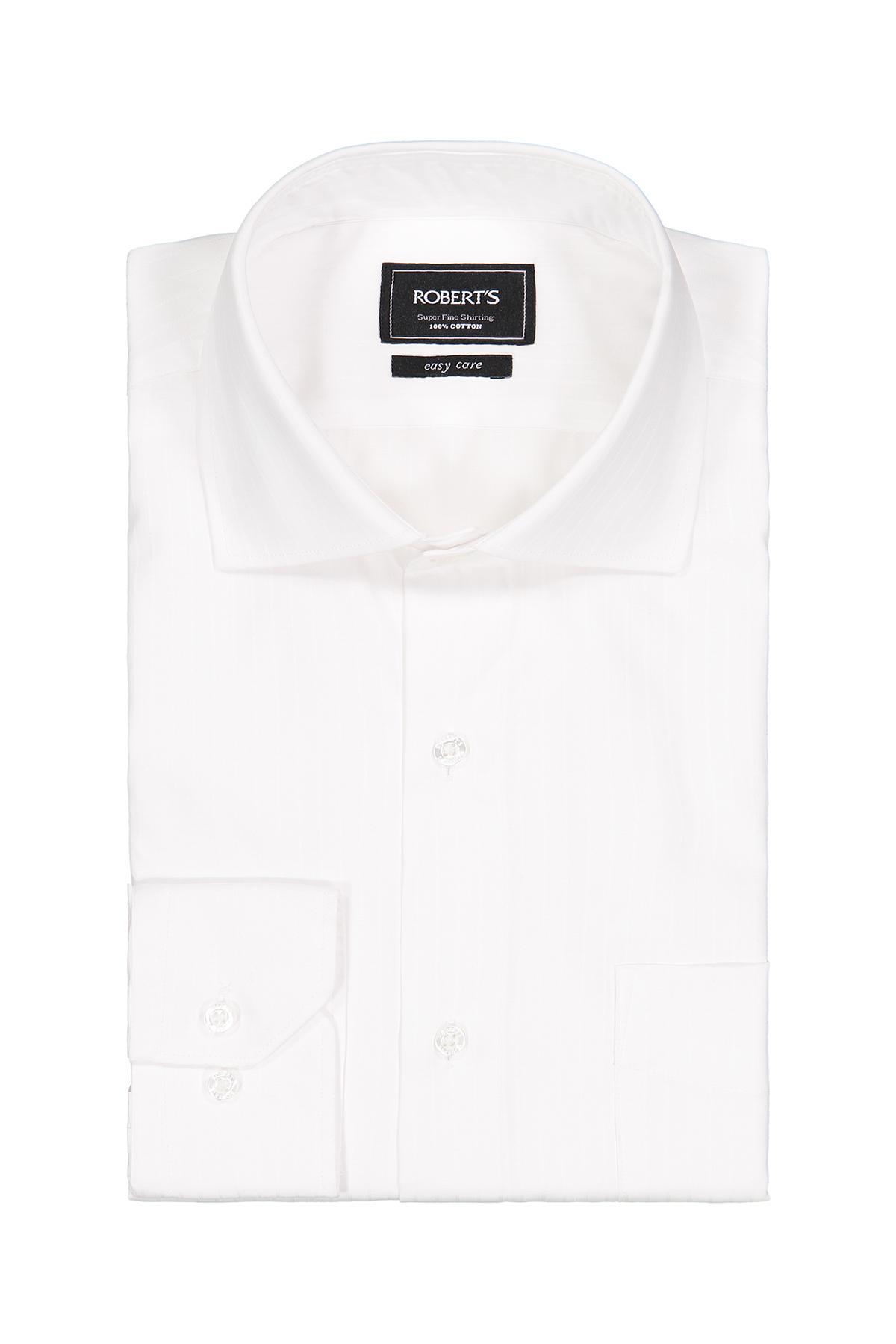 Camisa Robert´s, Easy Care, blanca trama vertical, cuello italiano.