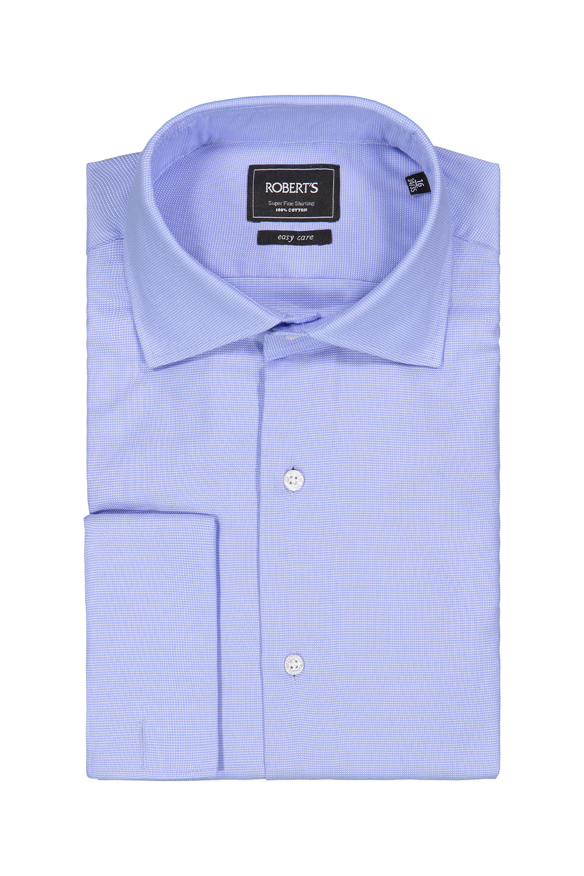Camisa Robert´s, Easy Care, celeste micro diseño, puño doble.