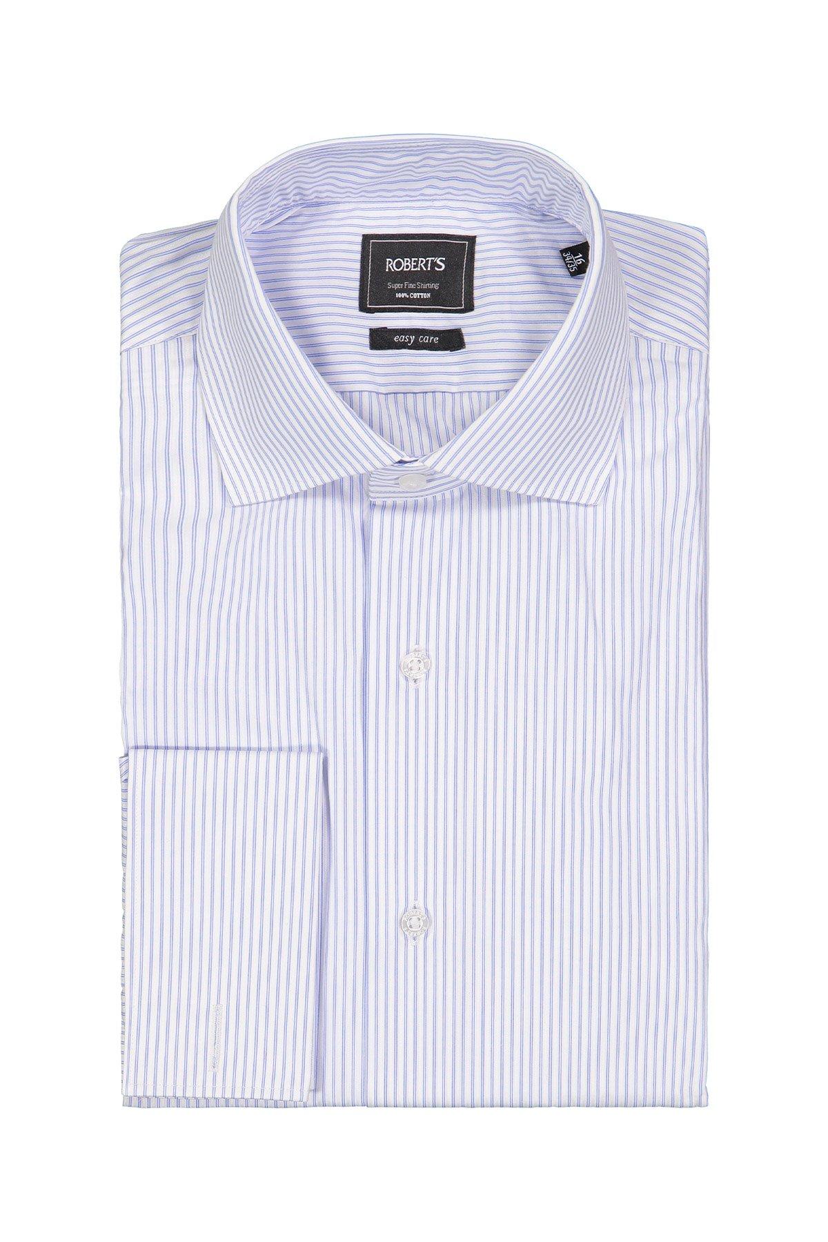 Camisa Robert´s, Easy Care, blanca con rayas celestes, puño doble.