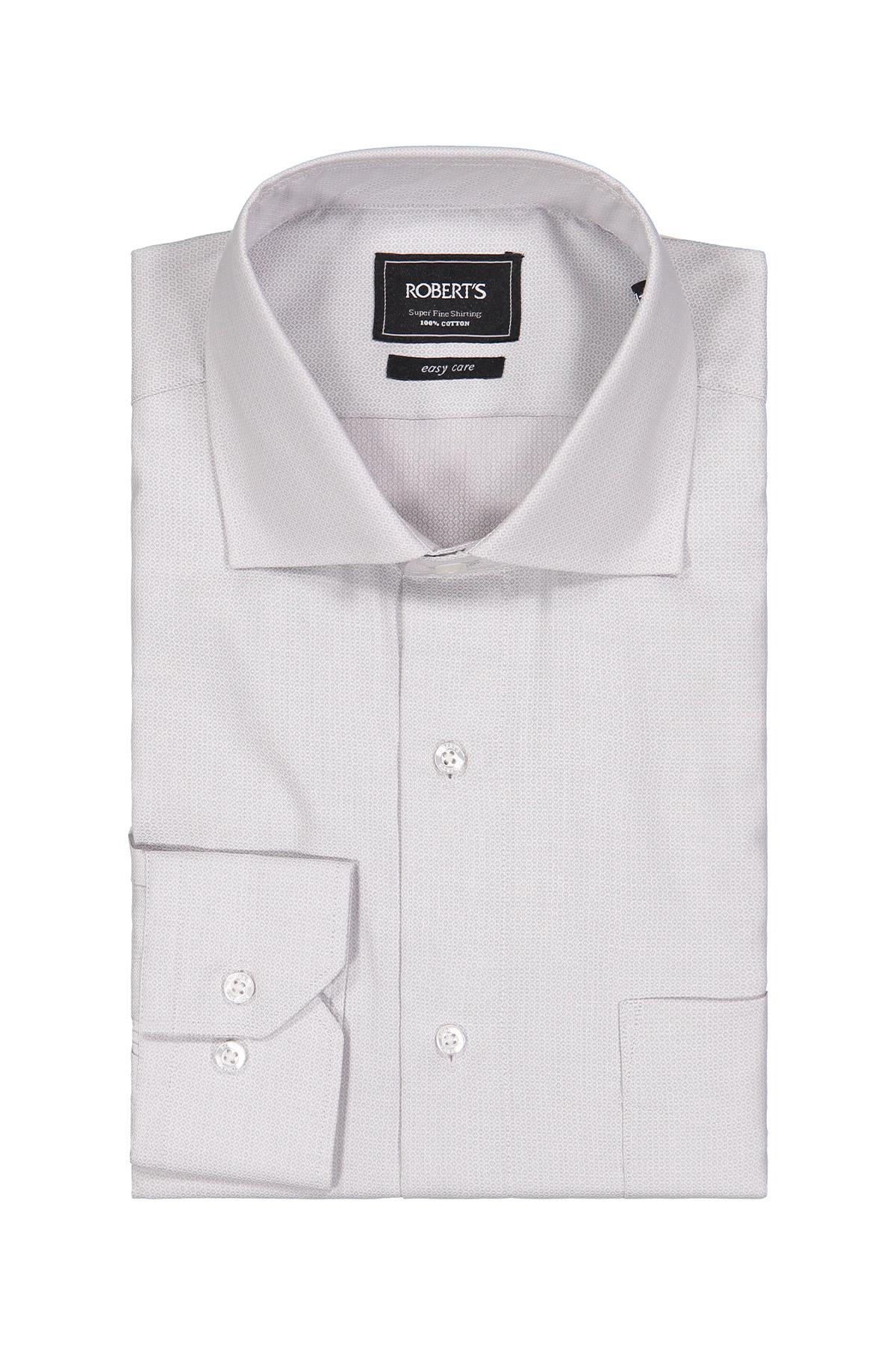 Camisa Robert´s, Easy Care, tramada gris claro, cuello italiano.