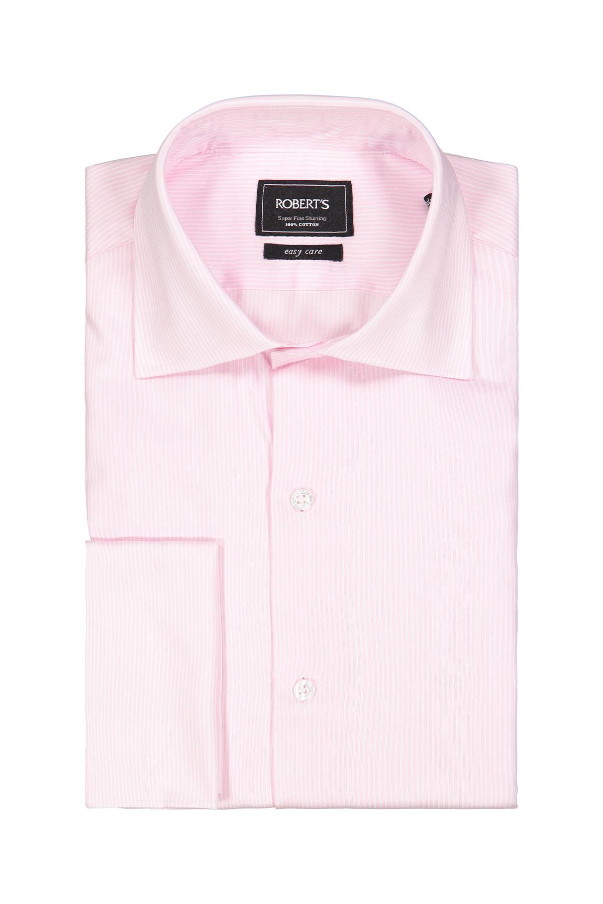 Camisa Robert´s, Easy Care, rayada color rosa, puño doble.