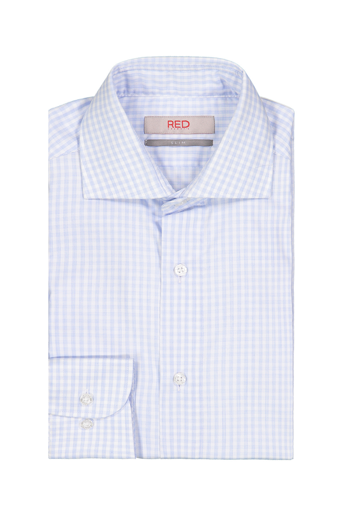 Camisa Robert´s Red, slim fit, celeste a cuadros, puño simple.