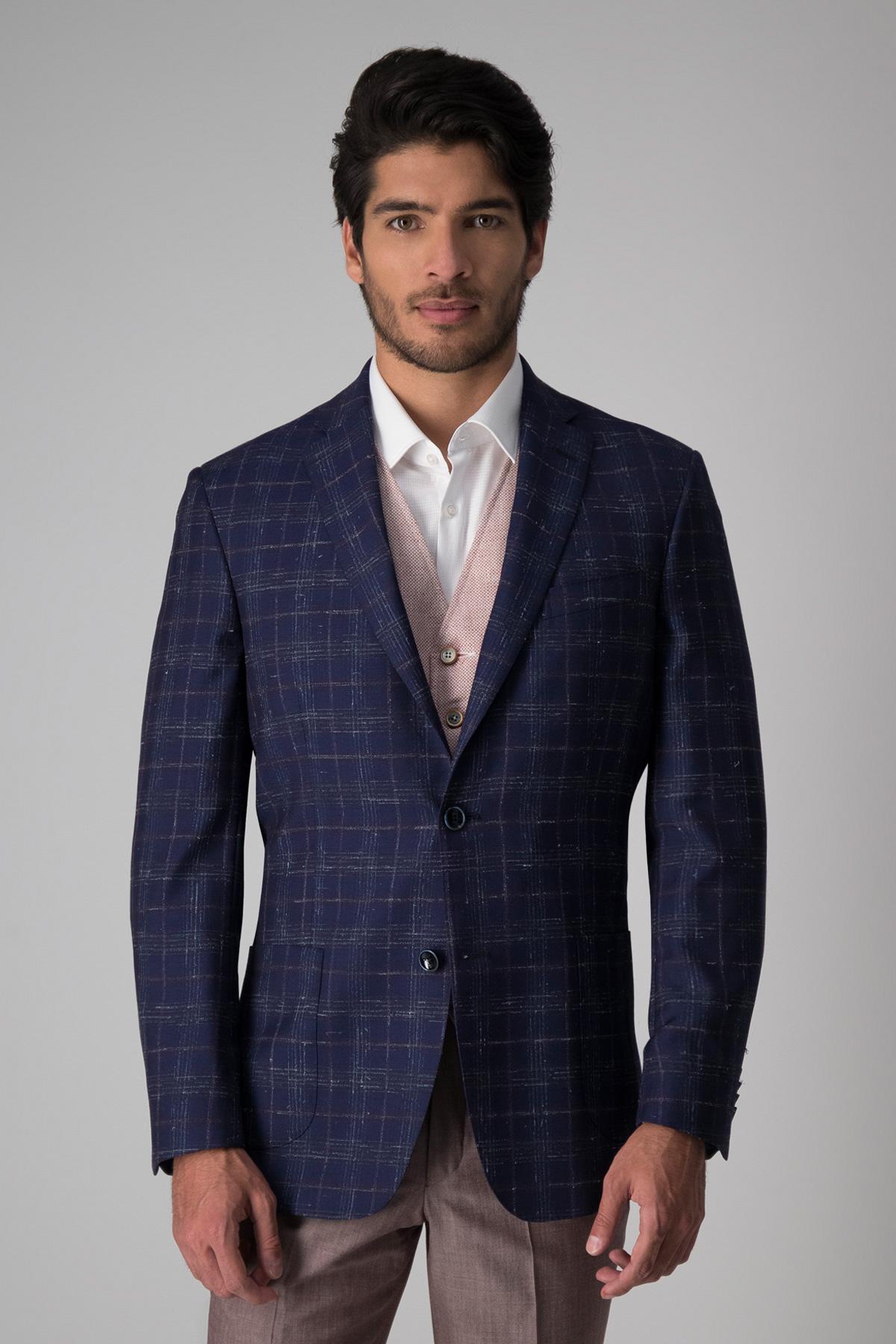 Saco Calderoni, 100%lana tela italiana, slim fit, azul cuadros vino.