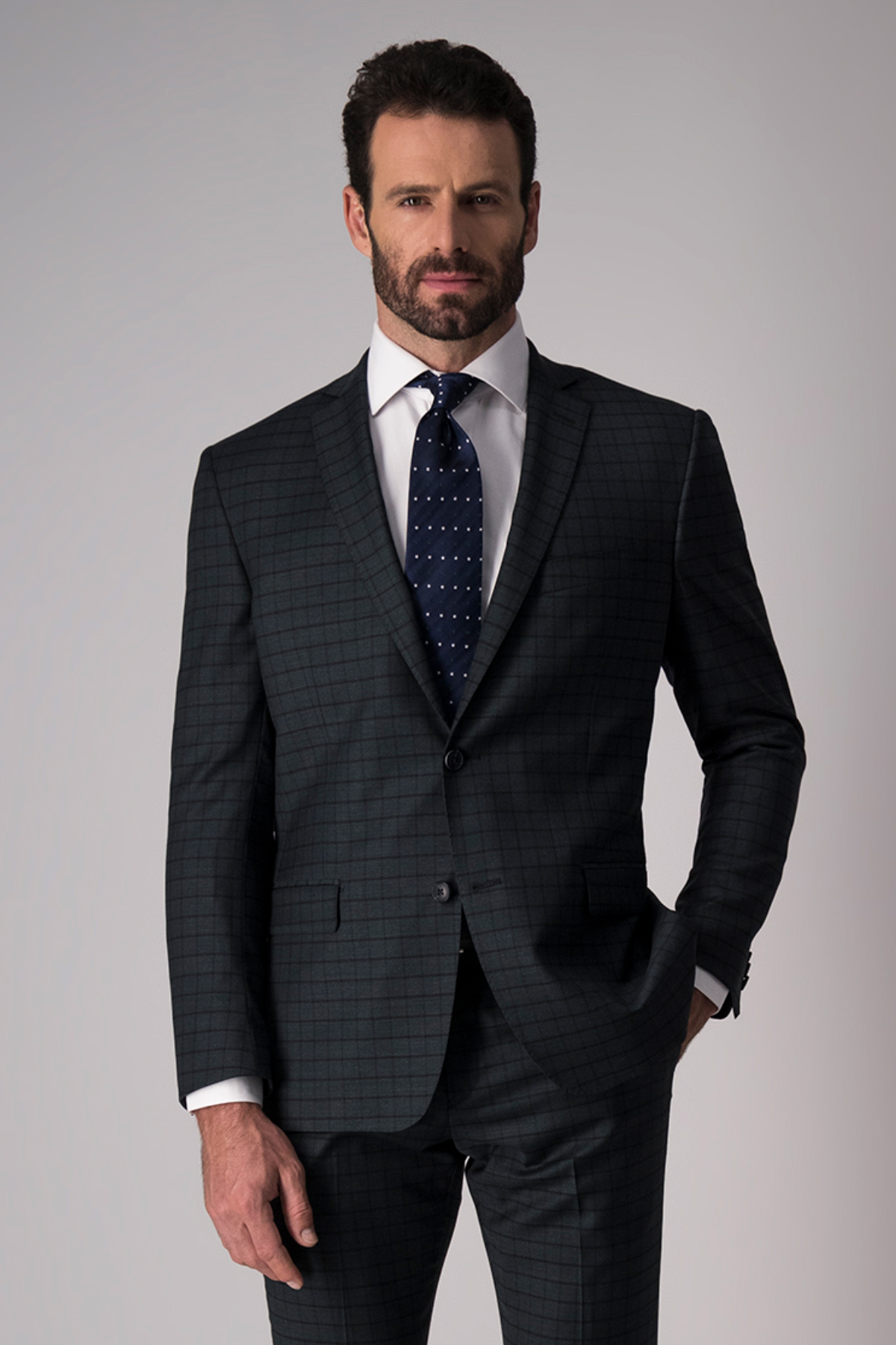 Traje Robert´s Red, slim fit, verde a cuadros, lana stretch.
