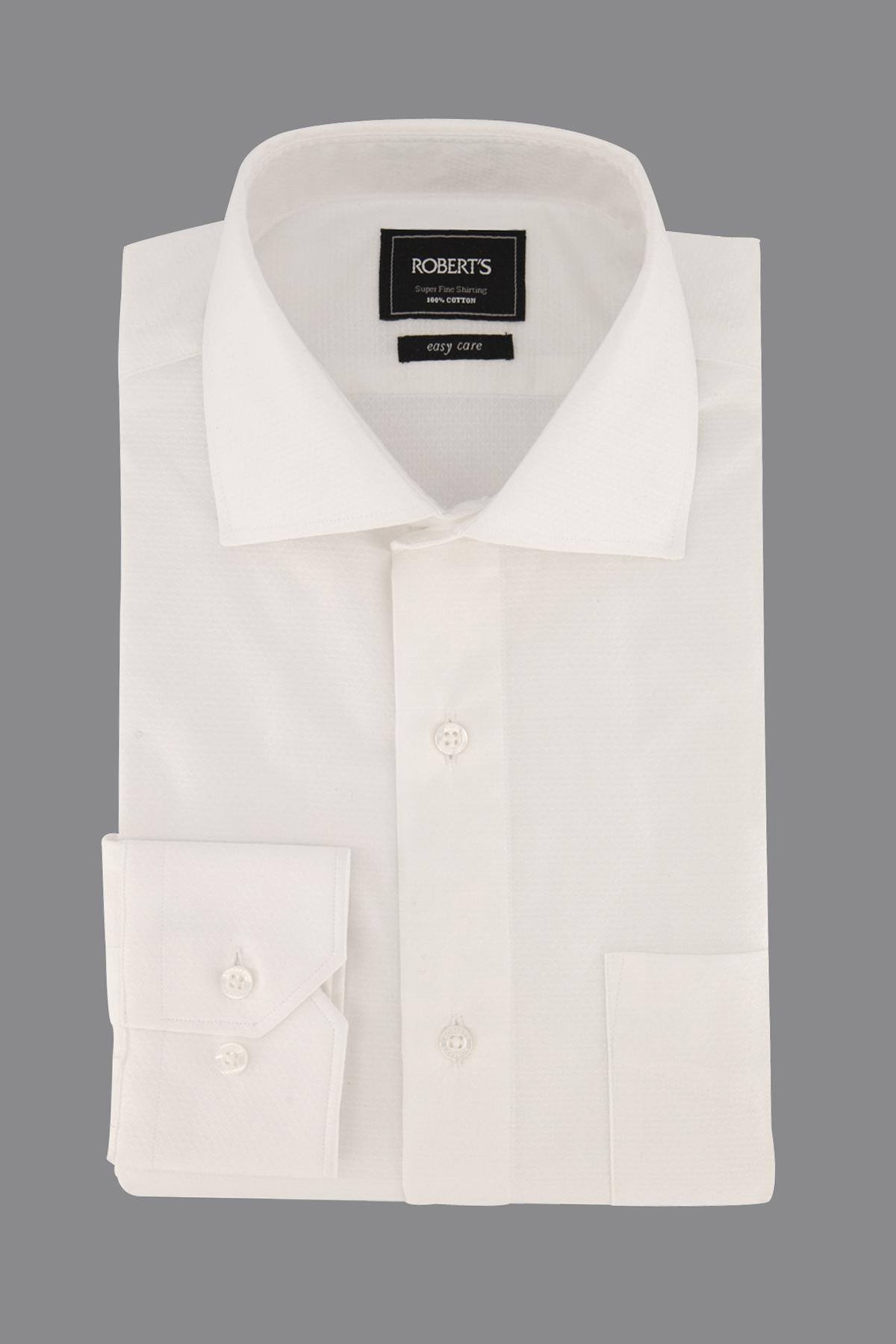 "Camisa Robert´s,  Regular fit, ""Easy Care"" blanca texturado."