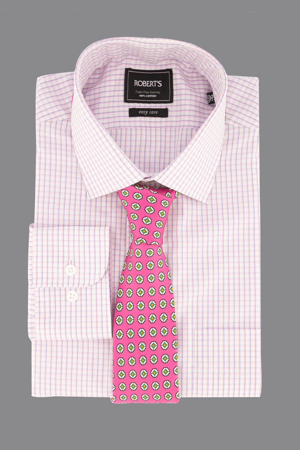 "Camisa Robert´s,  Regular fit, ""Easy Care"" cuadros rosa."