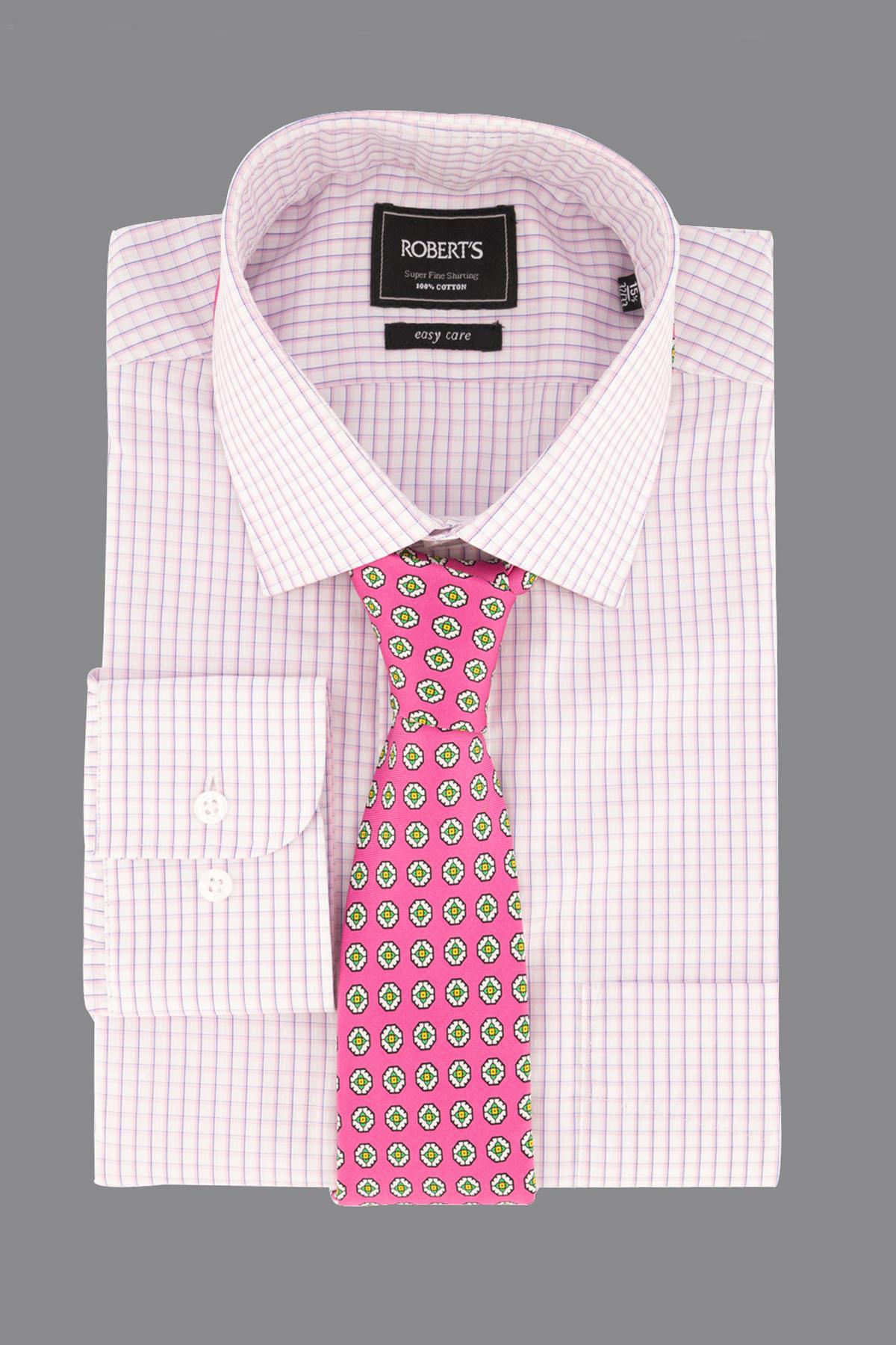 """Camisa Robert´s,  Regular fit, """"Easy Care"""" cuadros rosa."""