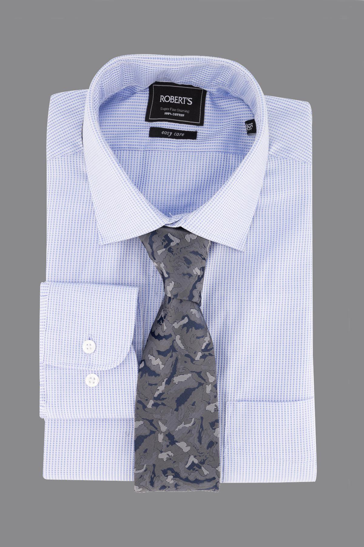 "Camisa Robert´s,  Regular fit, Easy Care"" micro diseño celeste"