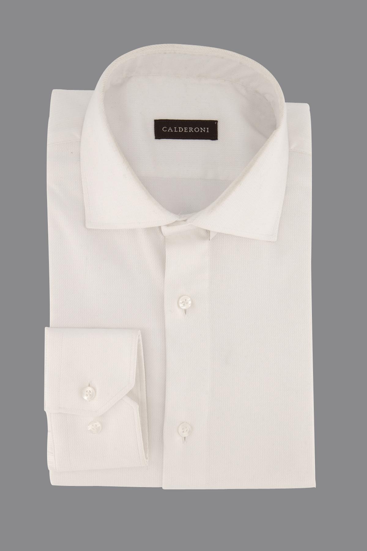 Camisa Calderoni,  slim fit, tramada blanca lisa