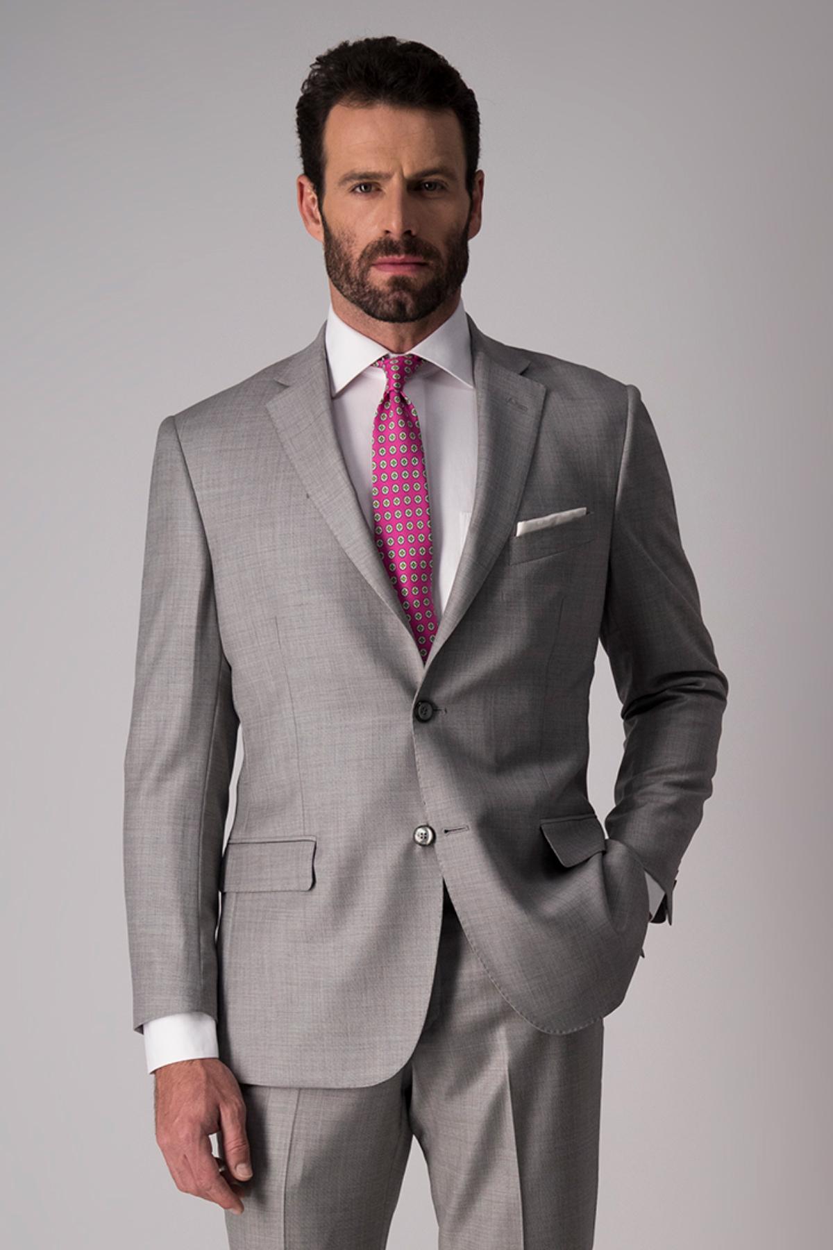 Traje Robert´s, 100% lana, Regular fit, gris claro.