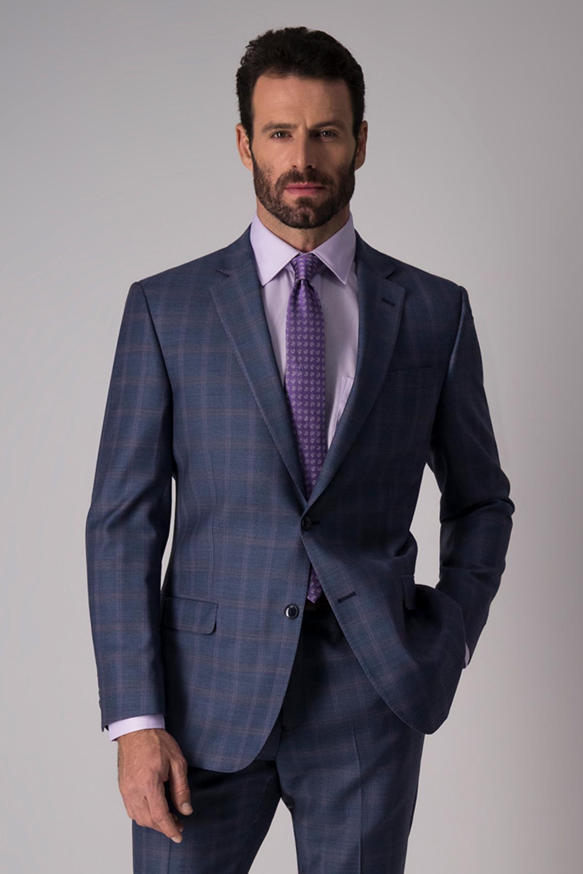 Traje Robert´s, 100% lana, slim fit, azul claro.
