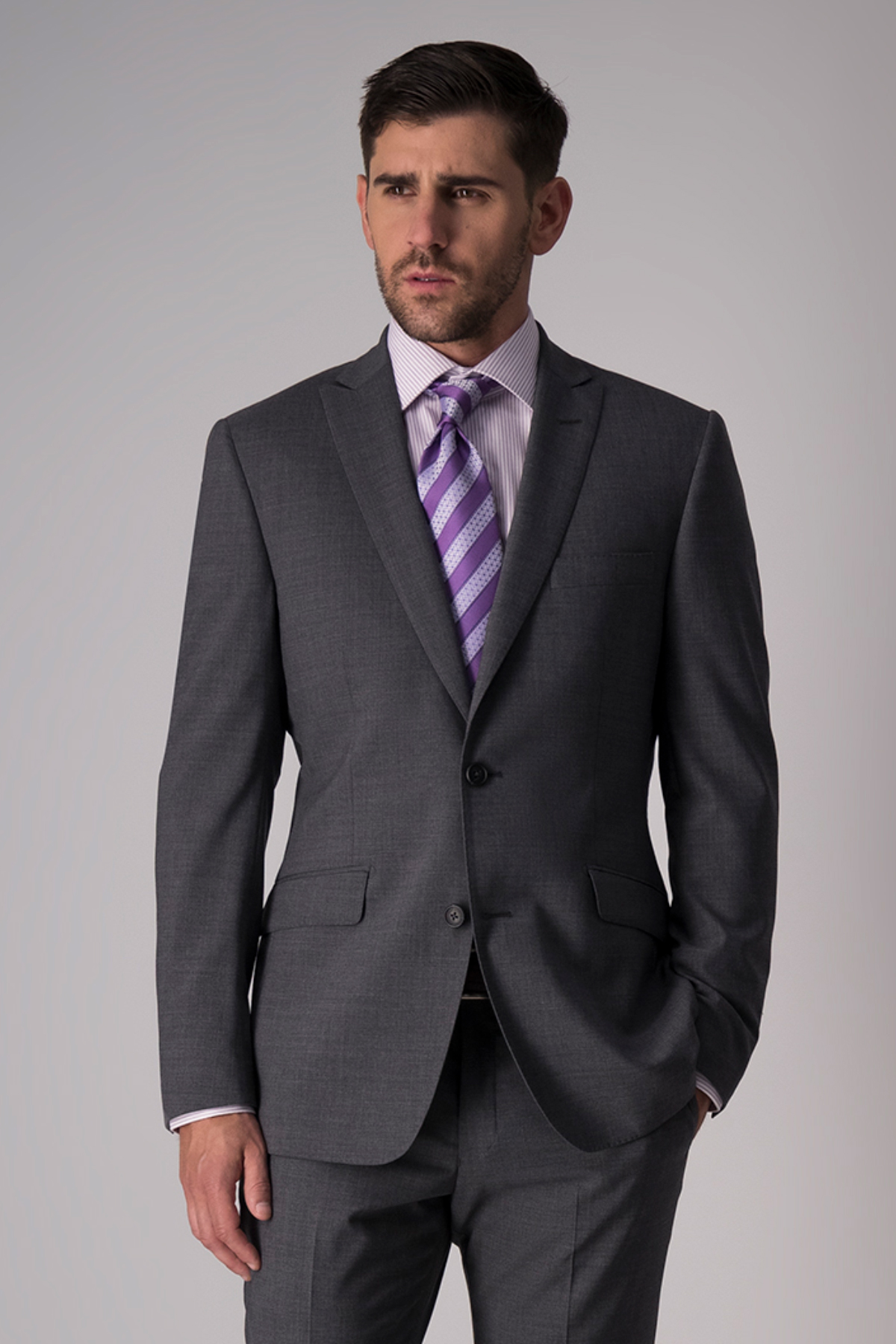 Traje Robert´s Red, slim fit, gris oxford, lana stretch