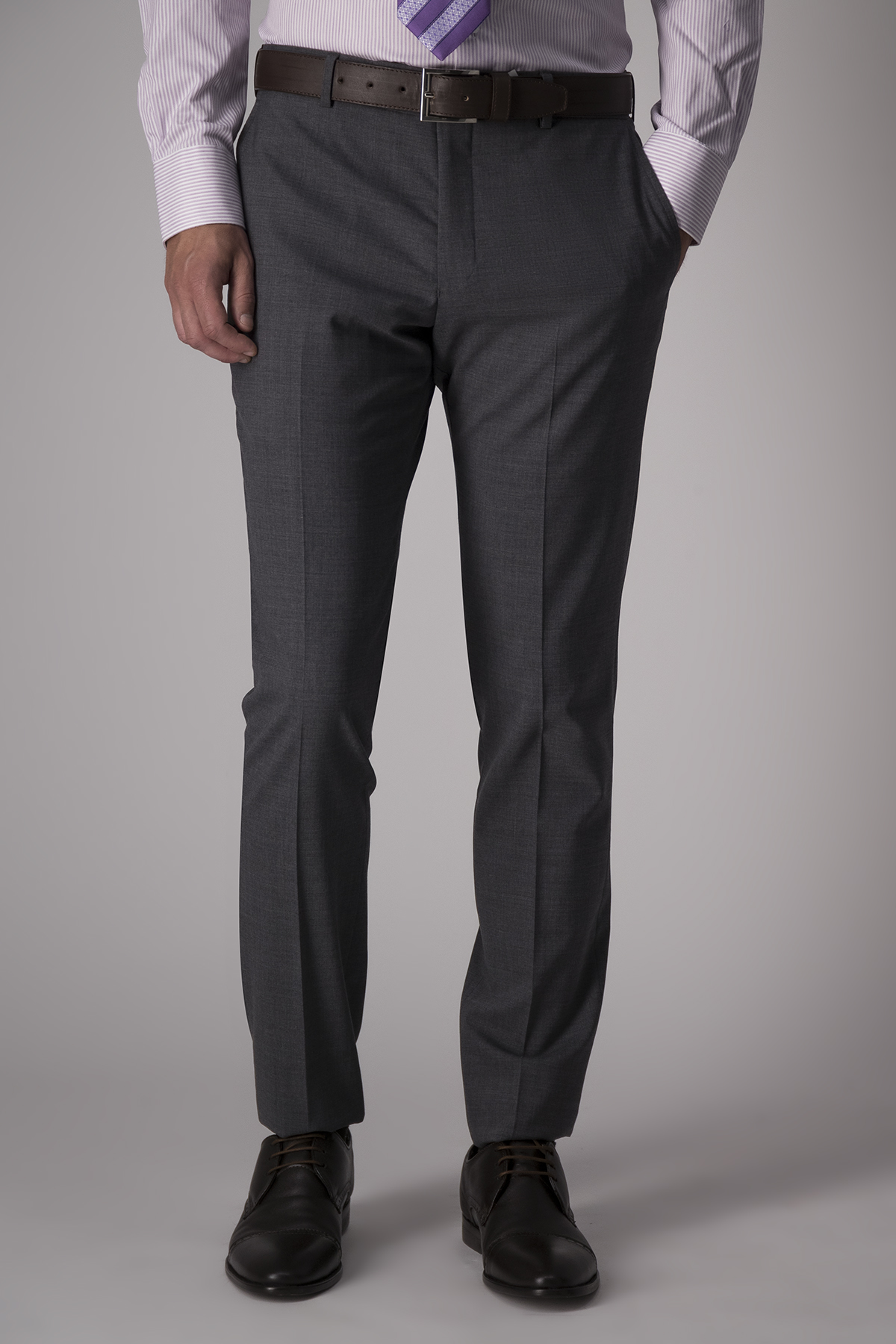 Traje Robert´s Red, slim fit, gris oxford, lana stretch