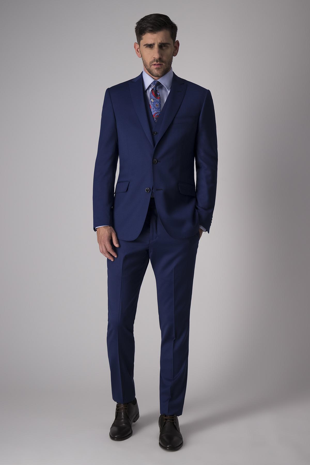 Traje Marc azul medio en tejido liso