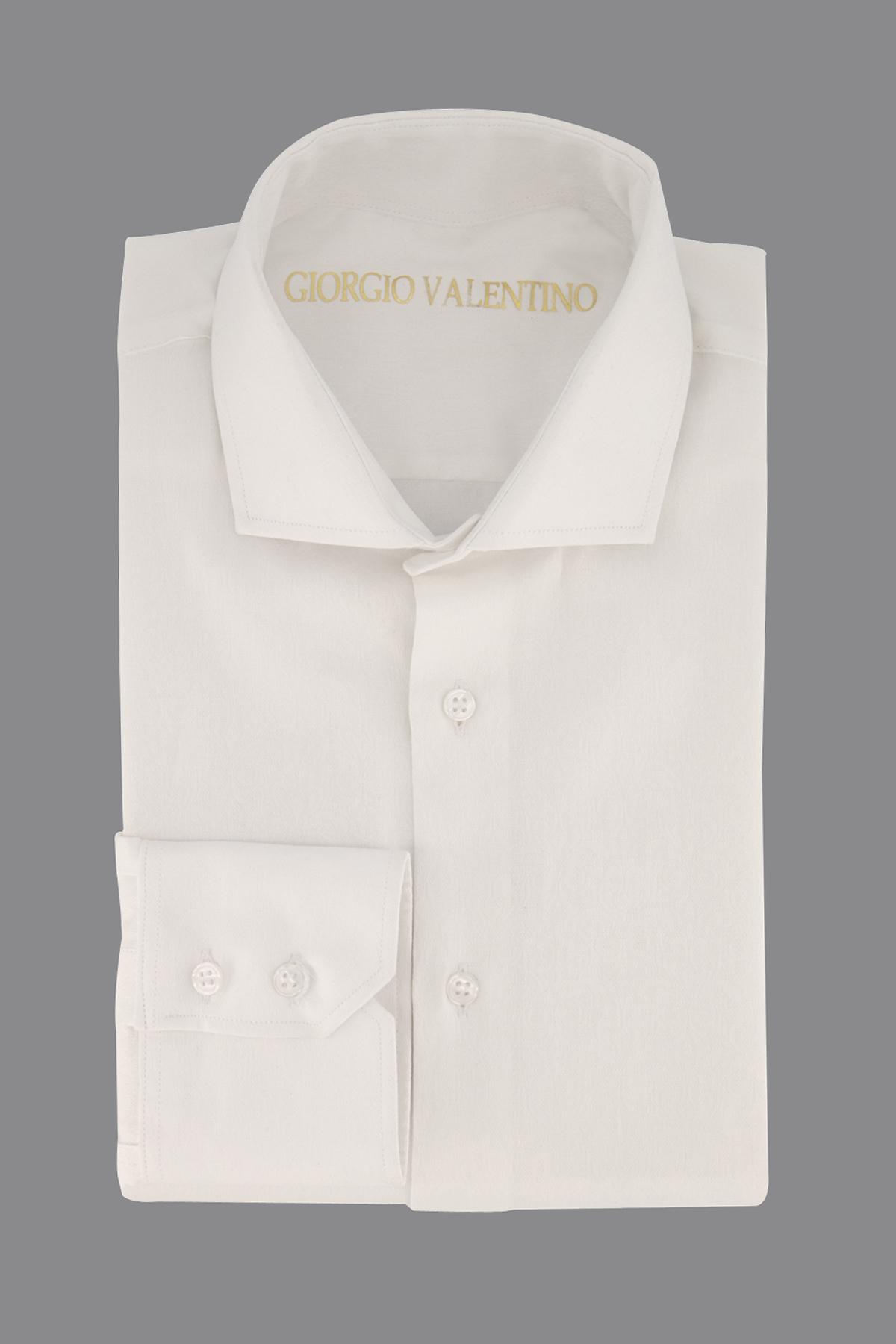 Camisa Giorgio Valentino, tela italiana, slim fit, jacquard blanca.