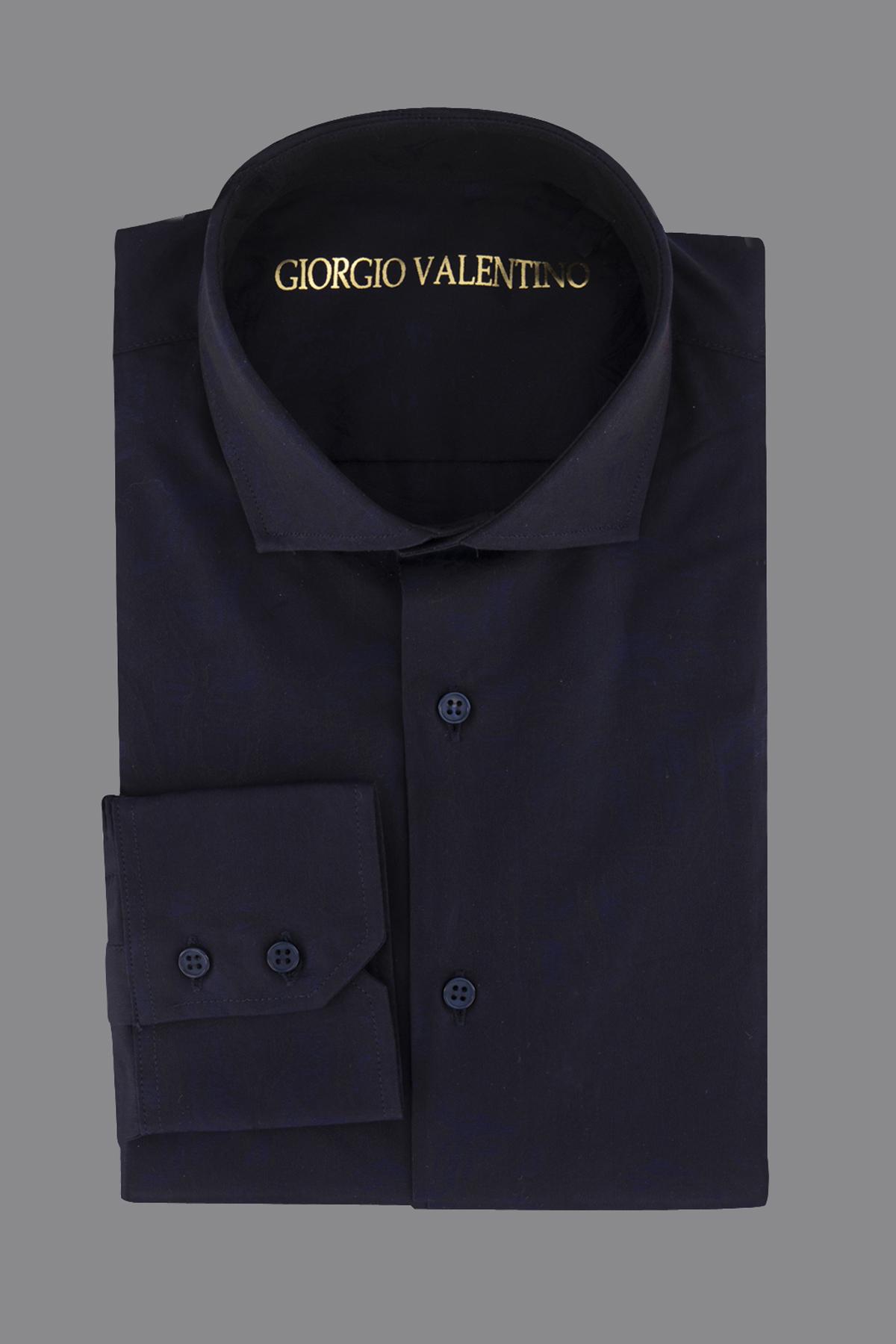 Camisa Giorgio Valentino, tela italiana, slim fit, jacquard azul.