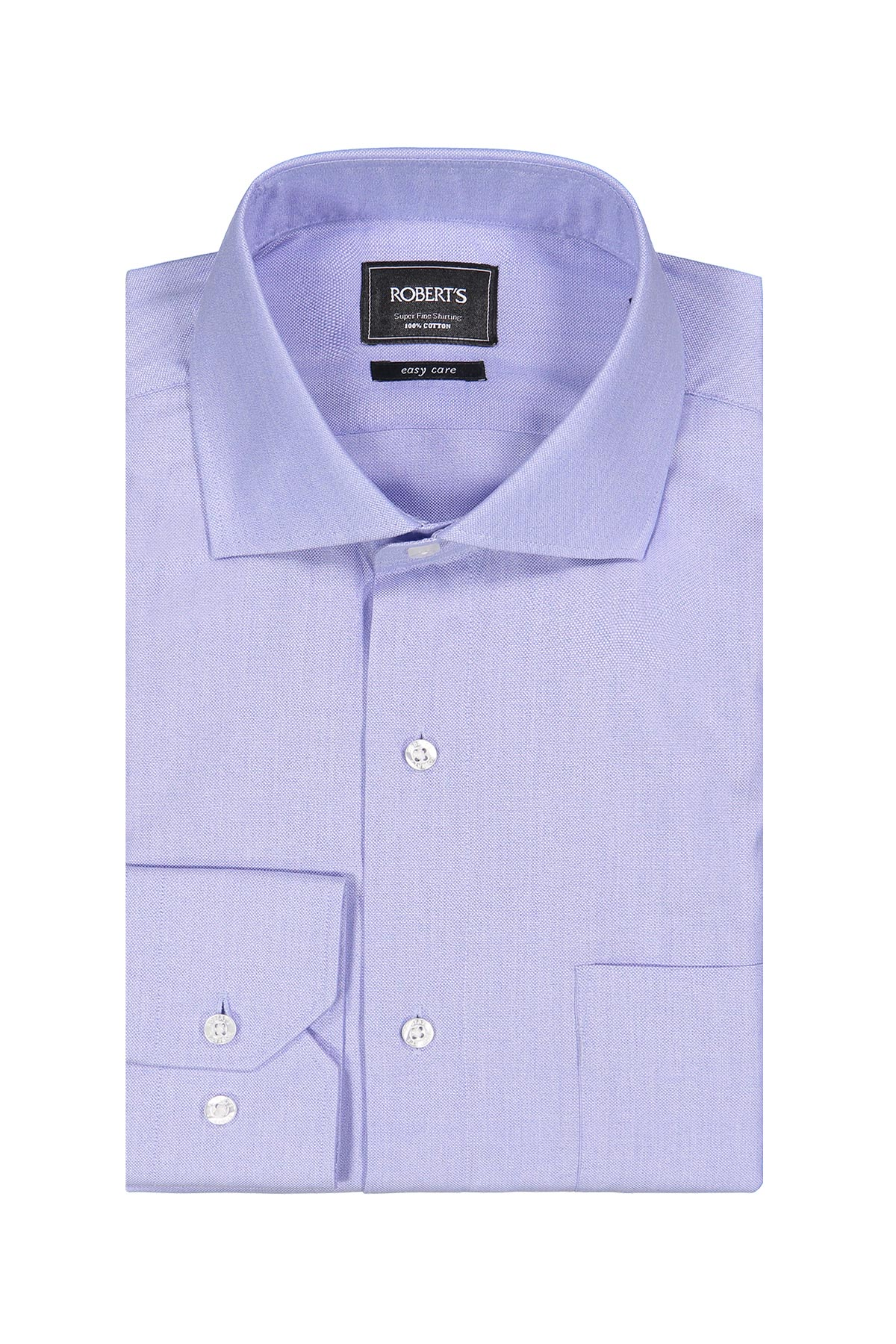 Camisa Robert´s, Easy Care, celeste lisa, cuello italiano, puño simple.