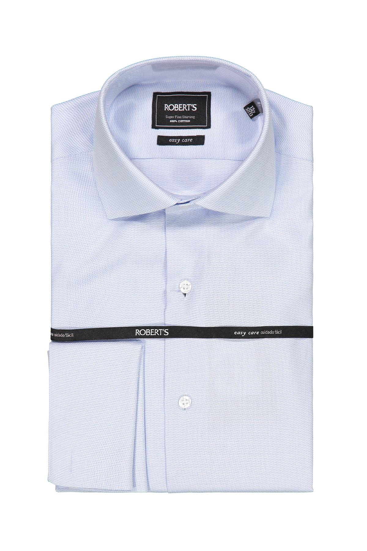 "Camisa Robert´s, slim fit, Easy Care"" blanca micro diseño celeste"