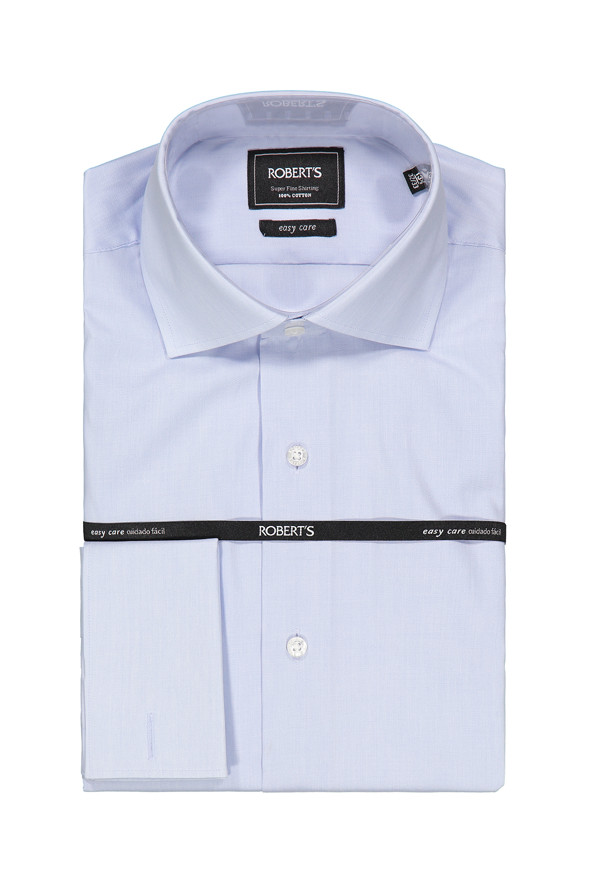 """Camisa Robert´s, slim fit, Easy Care"""" poplin celeste liso, puño doble."""