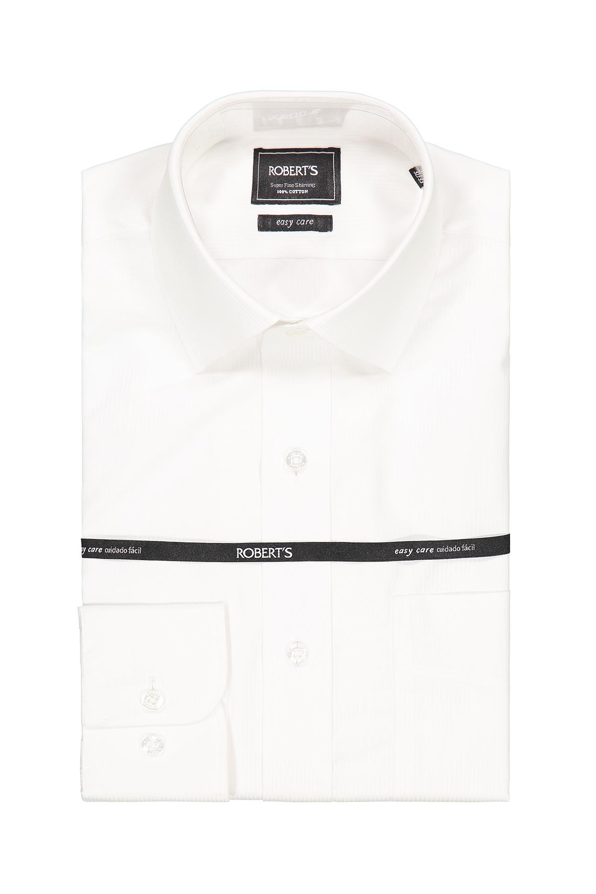 """Camisa Robert´s, slim fit, Easy Care"""" jacquard blanca lisa."""