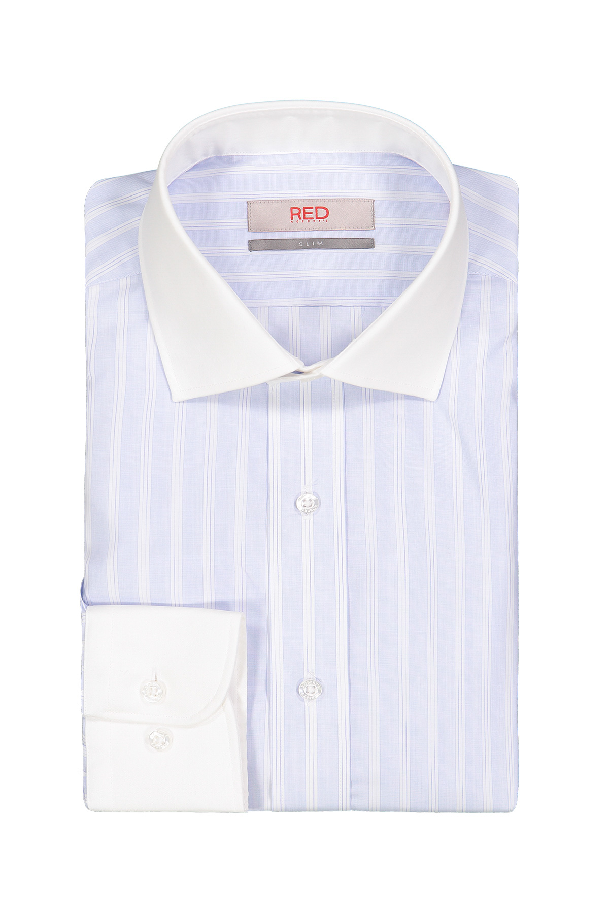 Camisa Robert´s Red, slim fit, celeste rayada puños y cuello blanco.