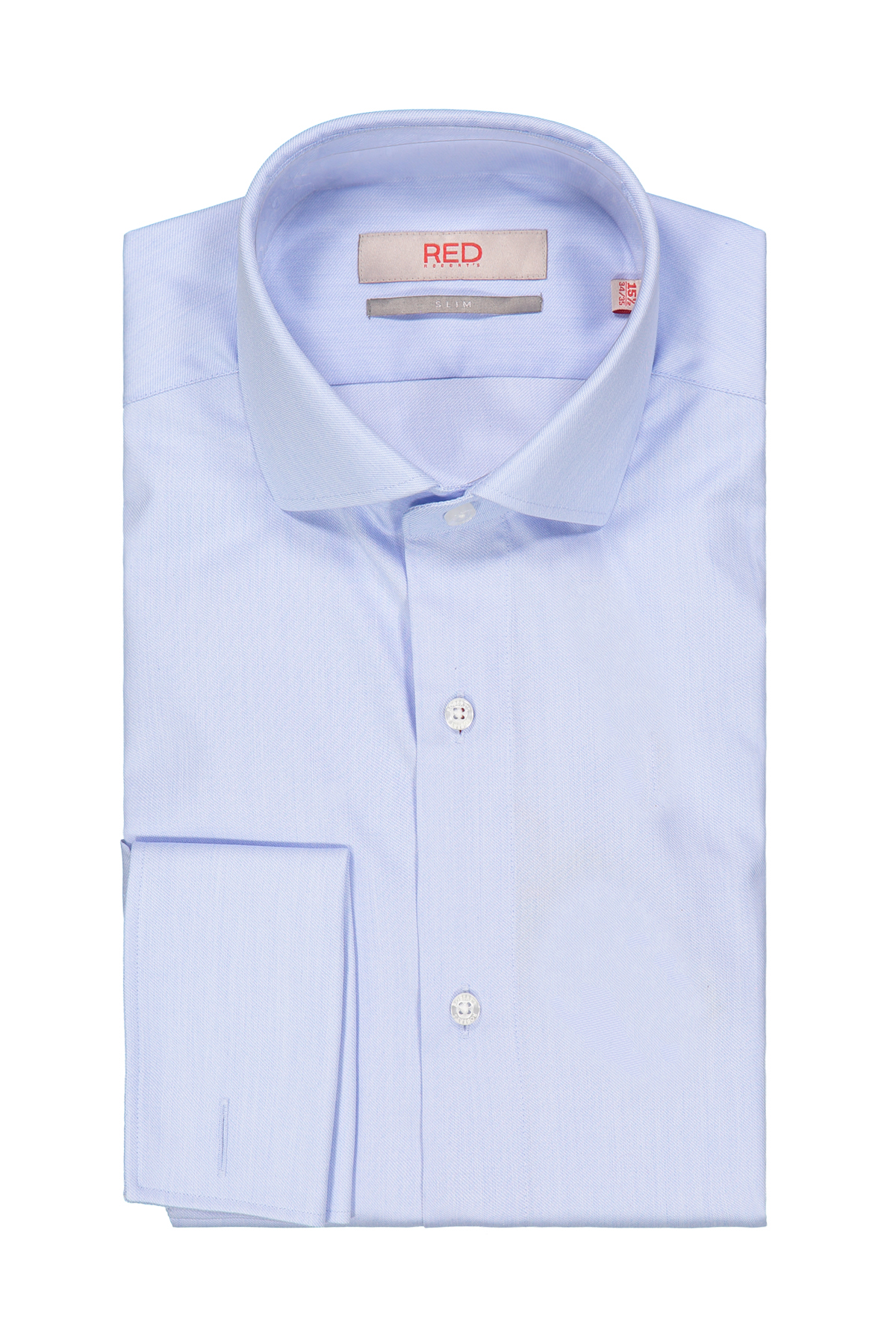 Camisa Robert´s Red, 100% algodón, slim fit, color celeste.
