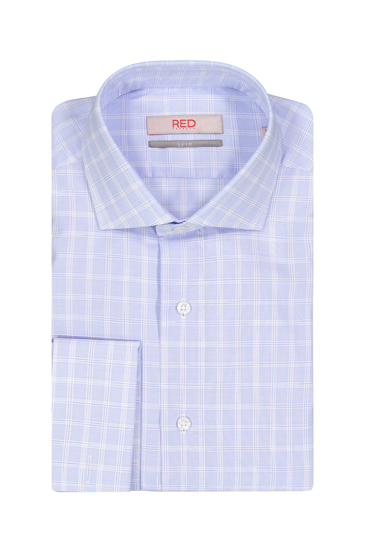 Camisa Robert´s Red, slim fit, celeste a cuadros, puño doble.