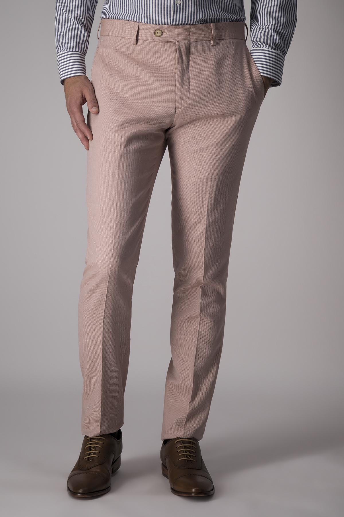 Pantalón Robert´s, lana y algodón, slim, color naranja.