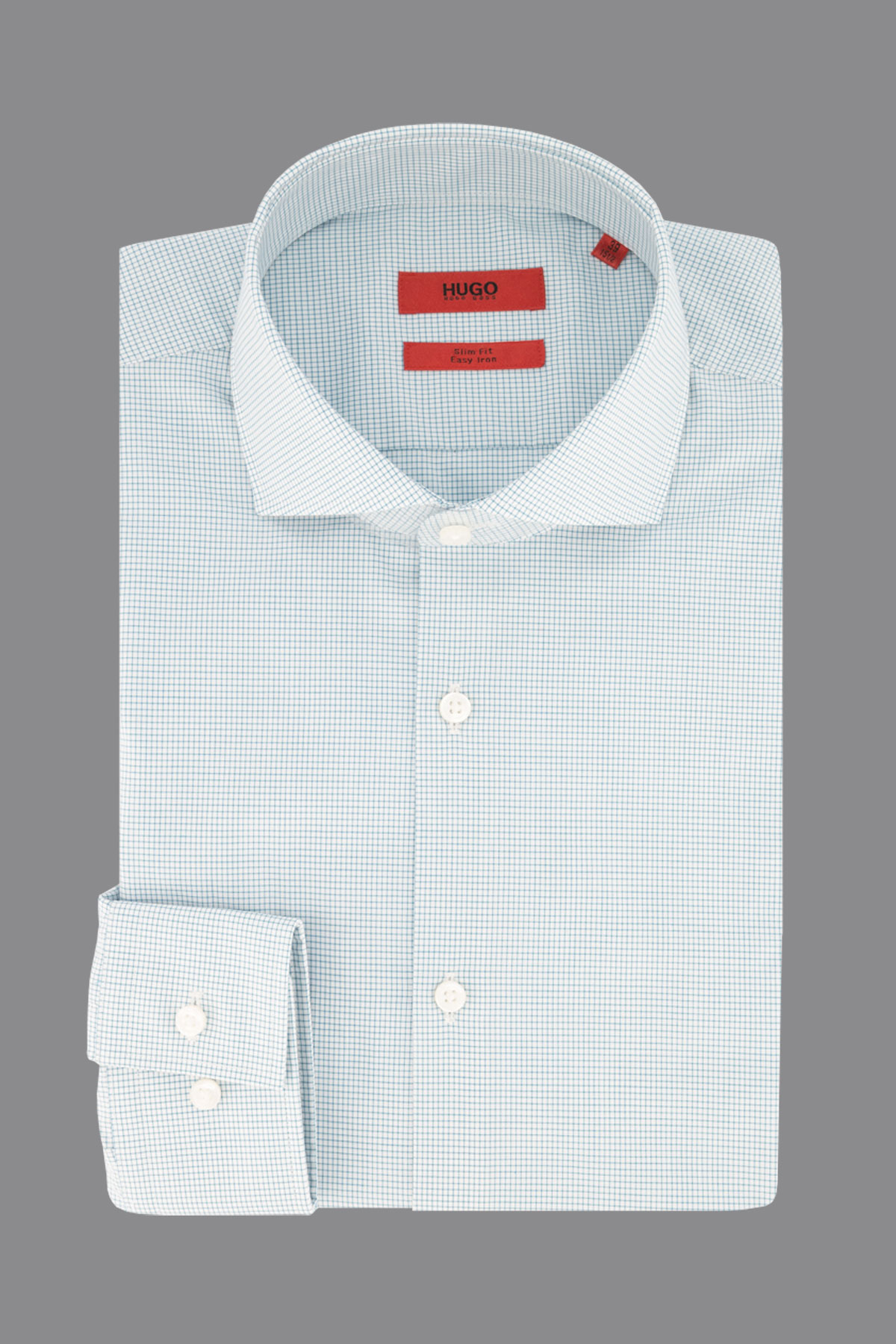 Camisa de vestir Hugo Boss, slim fit, Esay Iron, cuadrille celeste.
