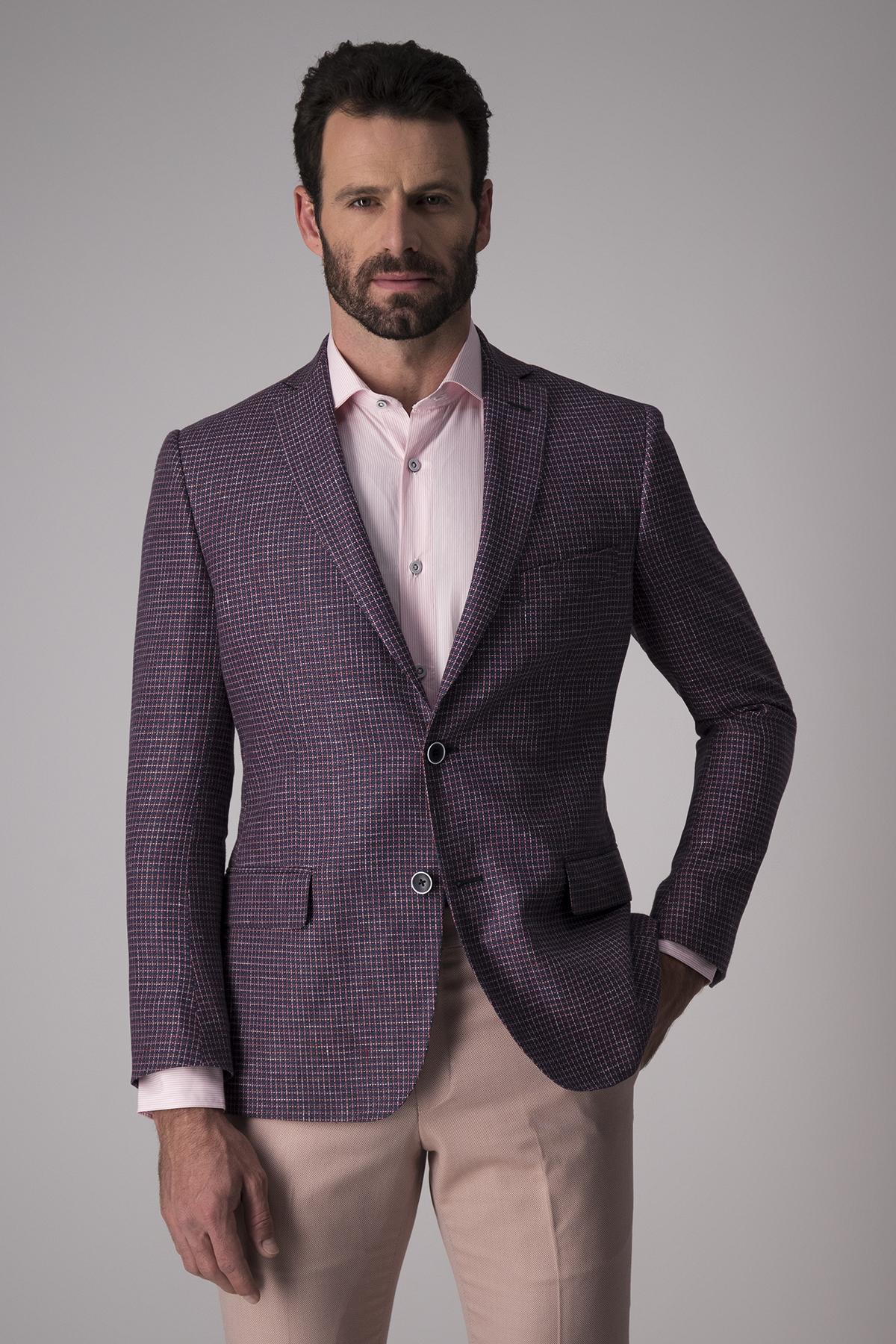 Saco Giorgio Valentino, slim fit, azul cuadros pequeño.