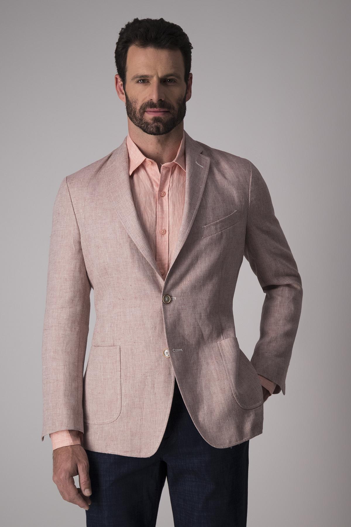 Saco Calderoni, 100% lino,  Regular fit, rosa tramado.