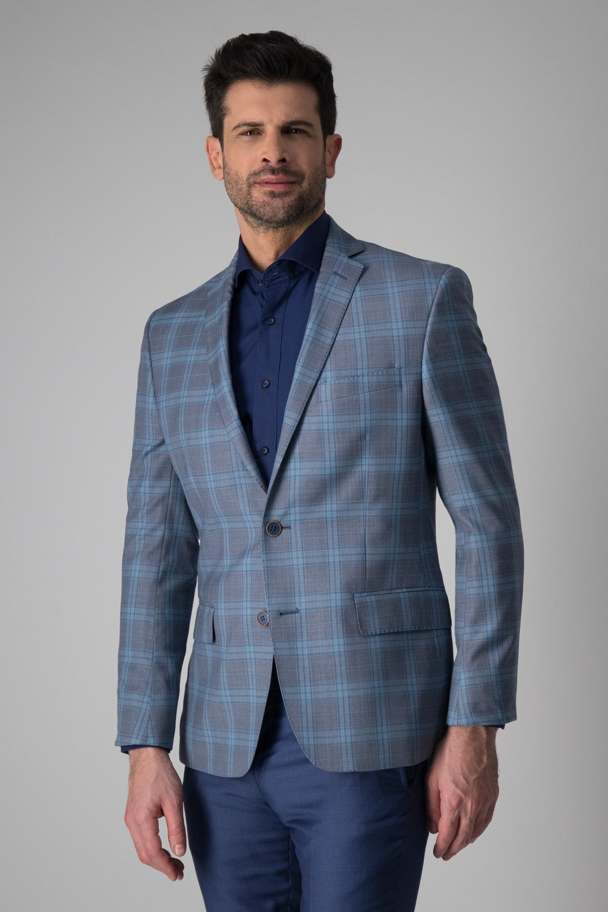 Saco Robert´s 100% lana, slim fit, gris cuadros en azul.