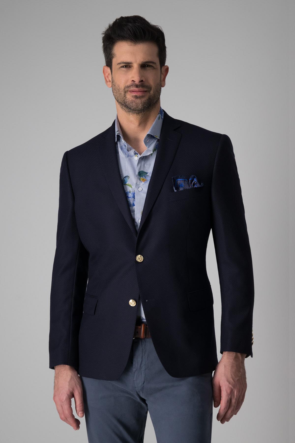 Saco Robert´s, 100%lana slim fit, azul tramado, botón metálico.
