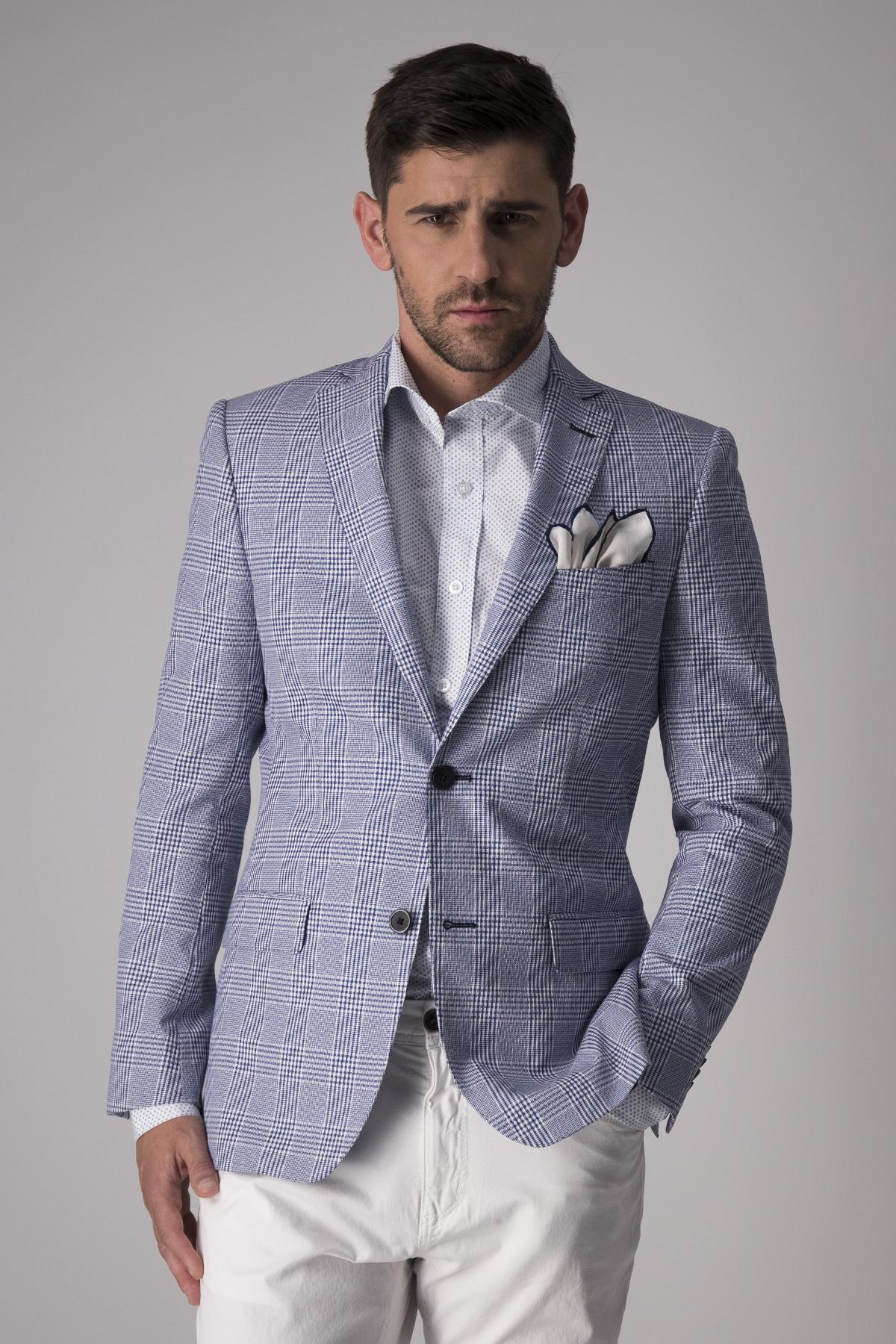Saco Robert´s Red, principe de gales azul, algodón y elastano.