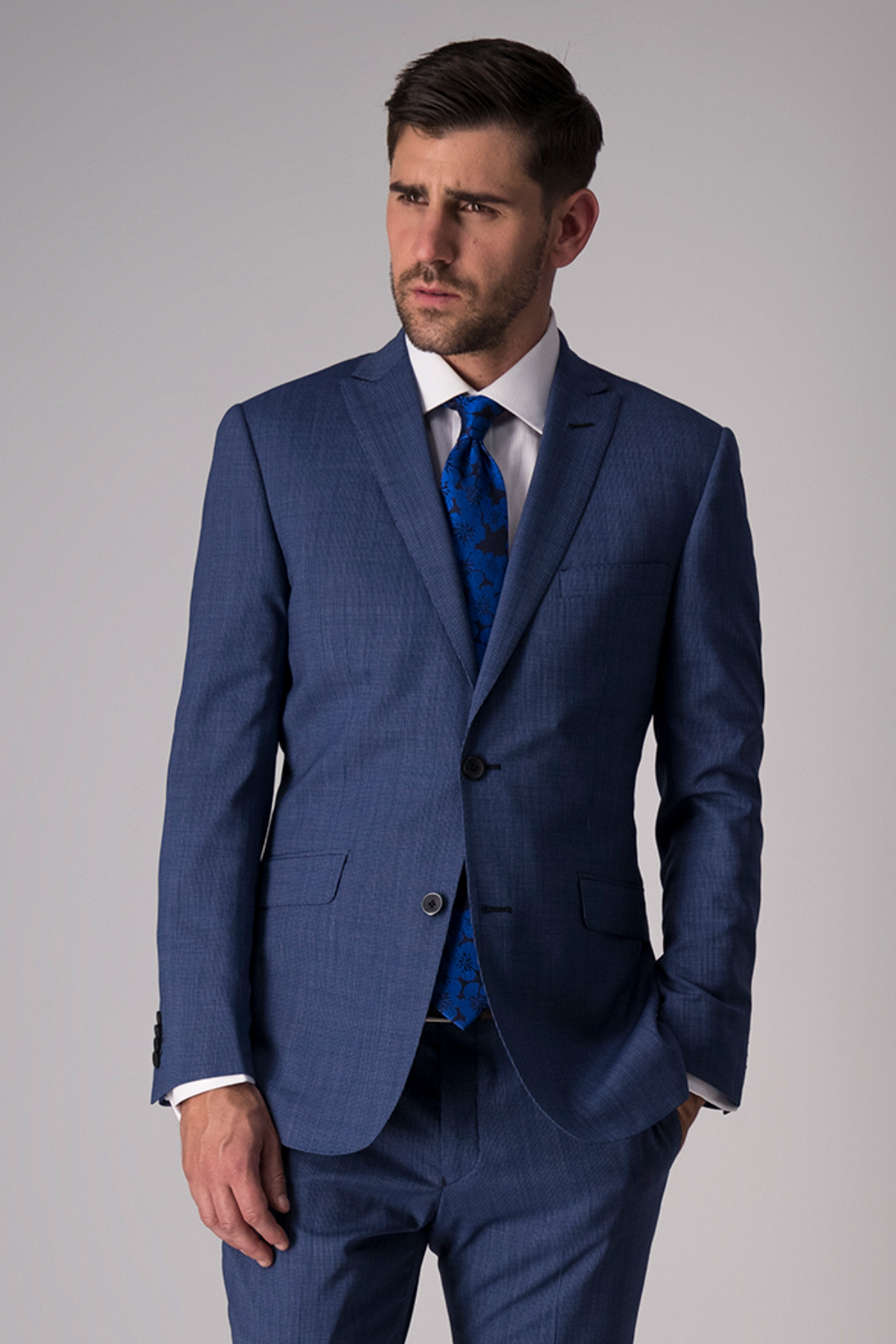 Traje Robert´s Red, slim fit, azul medio, lana stretch