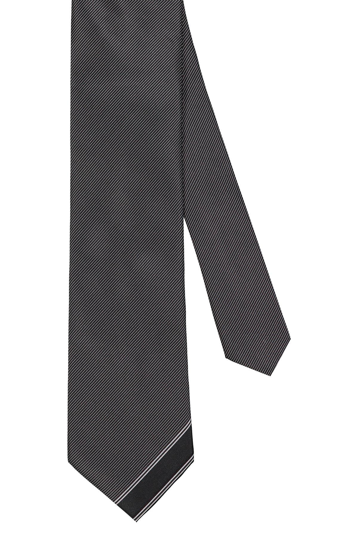 Corbata Calvin Klein, 100% seda, gris trama diagonal, punta con vivo.