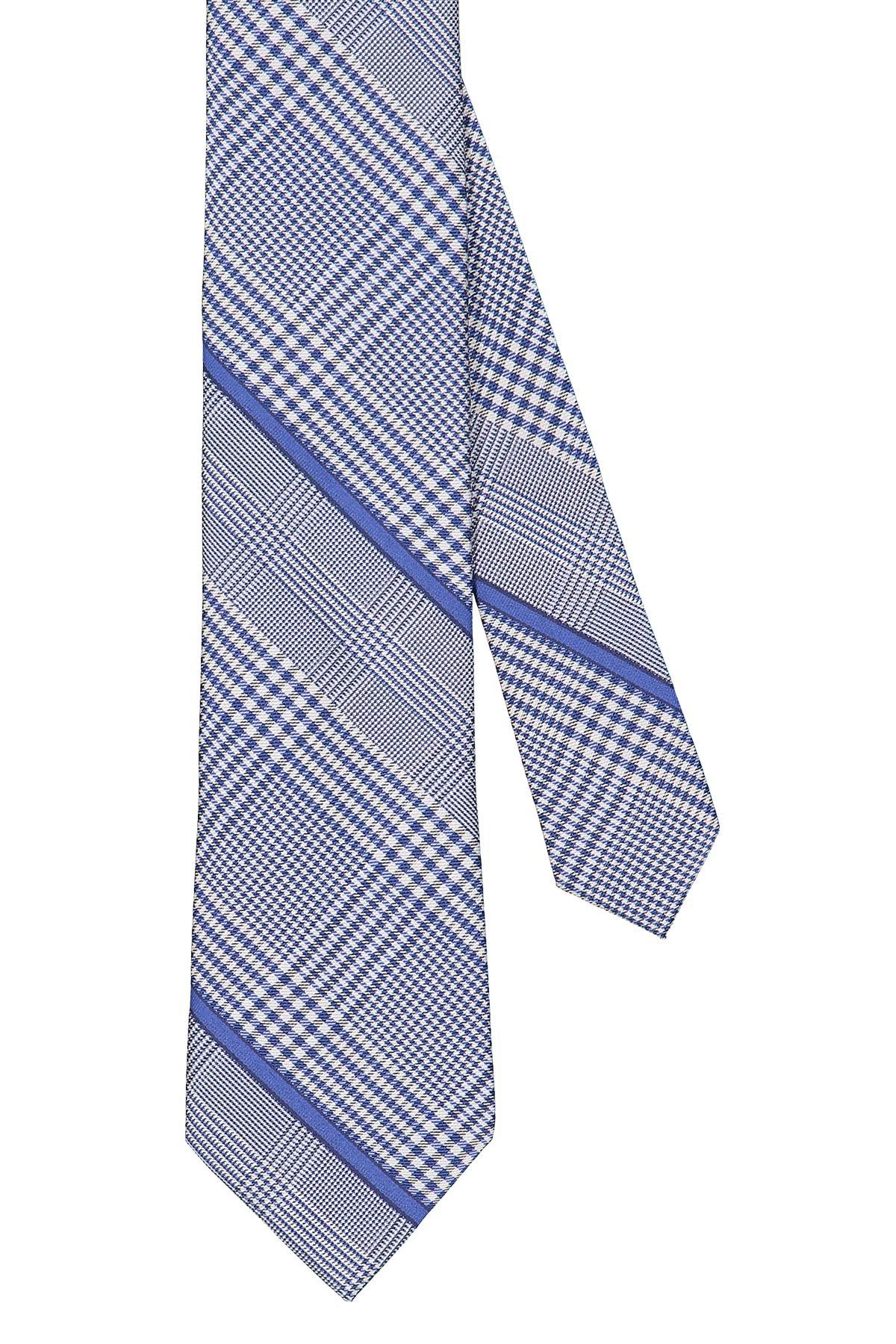 Corbata Calvin Klein, seda y algodón, escoces y cuadros en color azul
